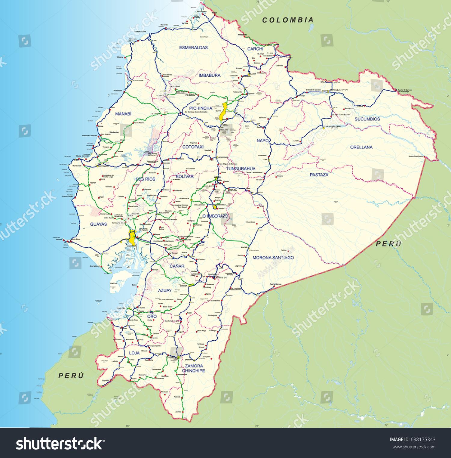 Ecuador Road Map Real Life Map Collection Mappery Ecuador Maps - Map of ecuador south america