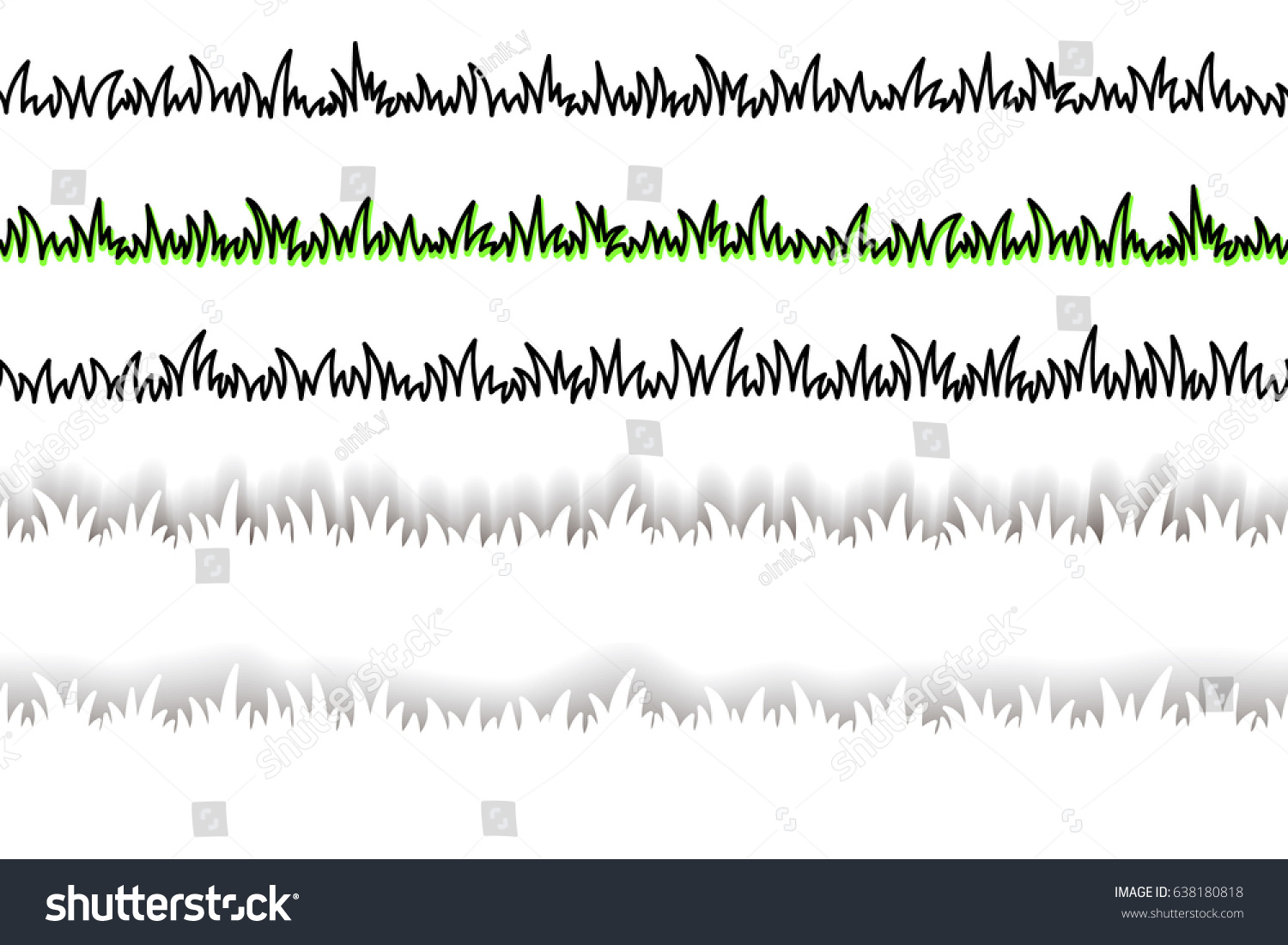 Line Drawing Grass : Seamless lines grass hand drawing set stock vector