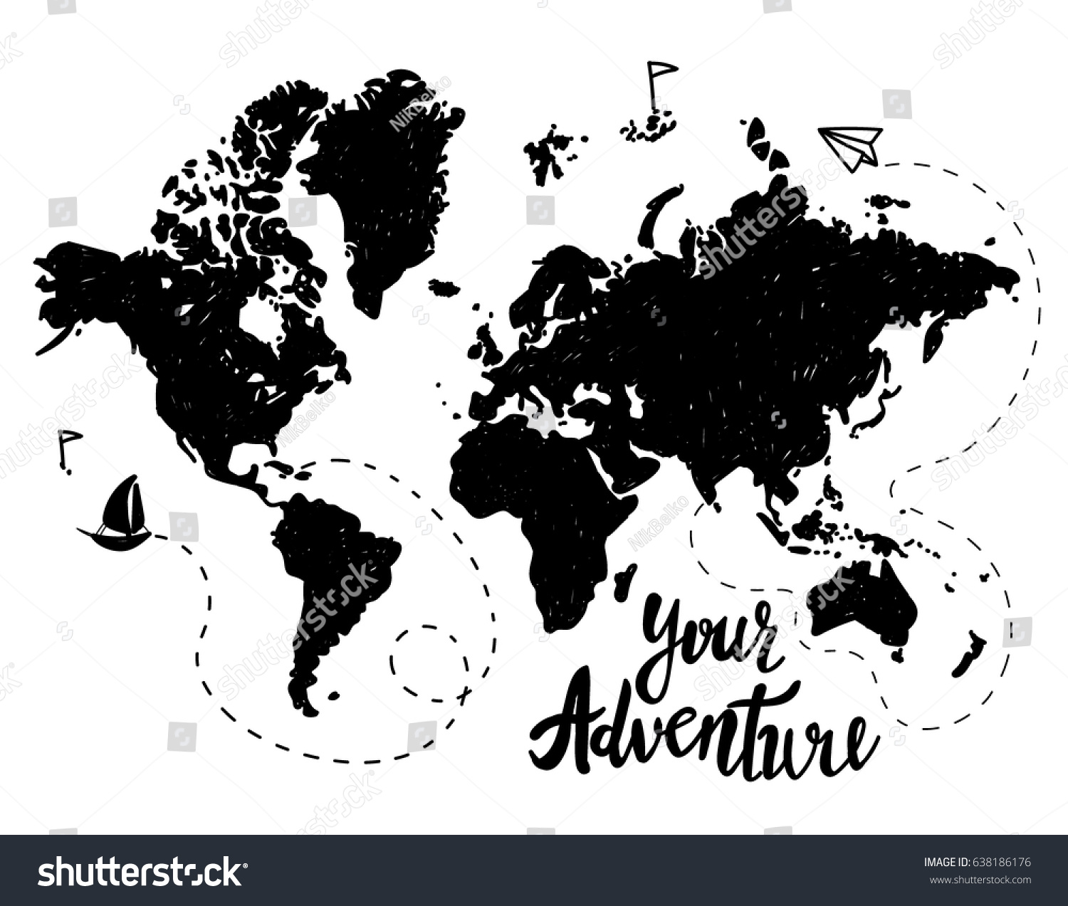 Your adventure drawing by hand childrens vector de stock638186176 your adventure drawing by hand childrens drawing world map geographical map gumiabroncs Gallery