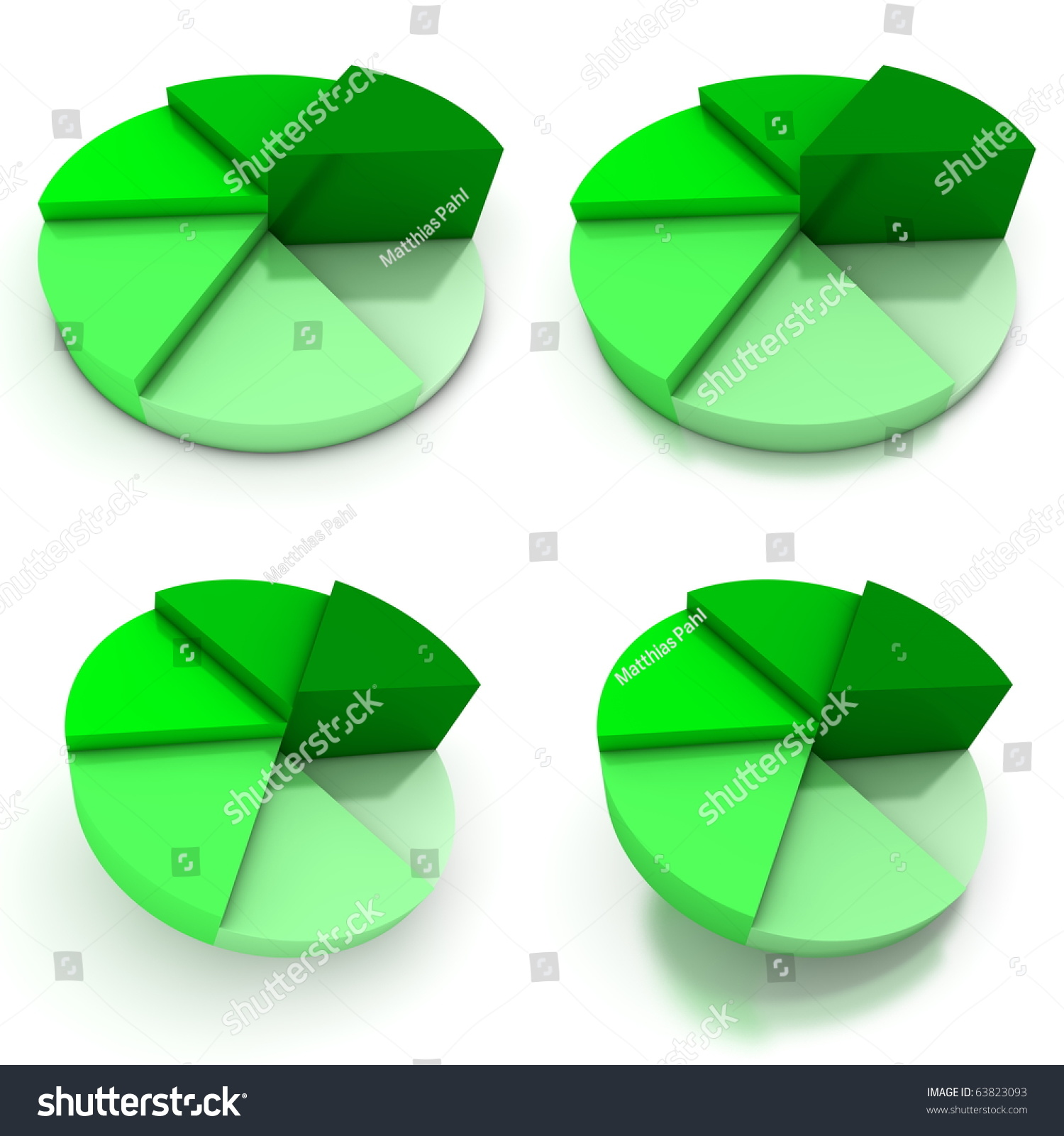 Colored Pie Chart Six Shades Green Stock Illustration 63823093