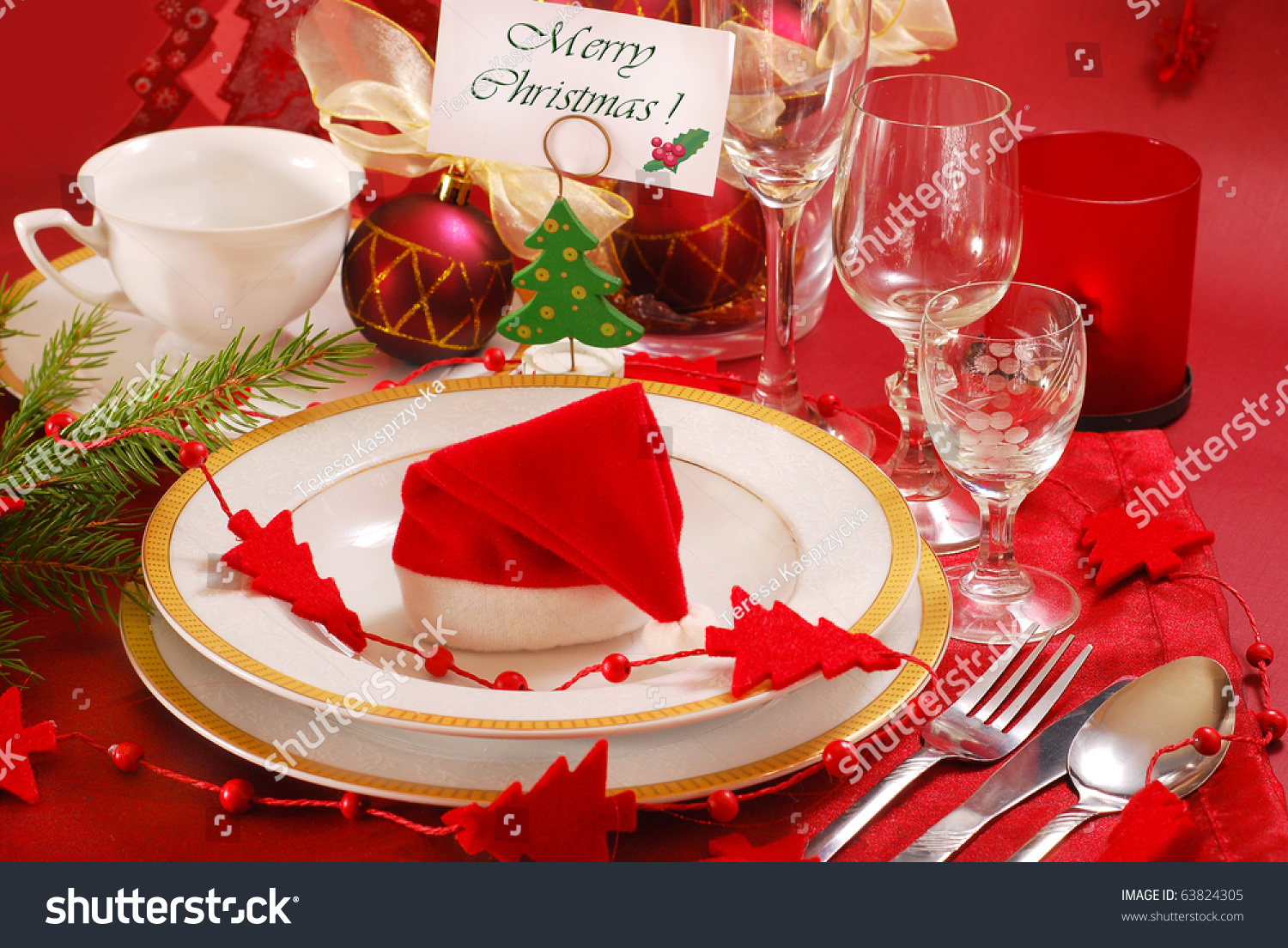 Decoration christmas table red white colors stock photo