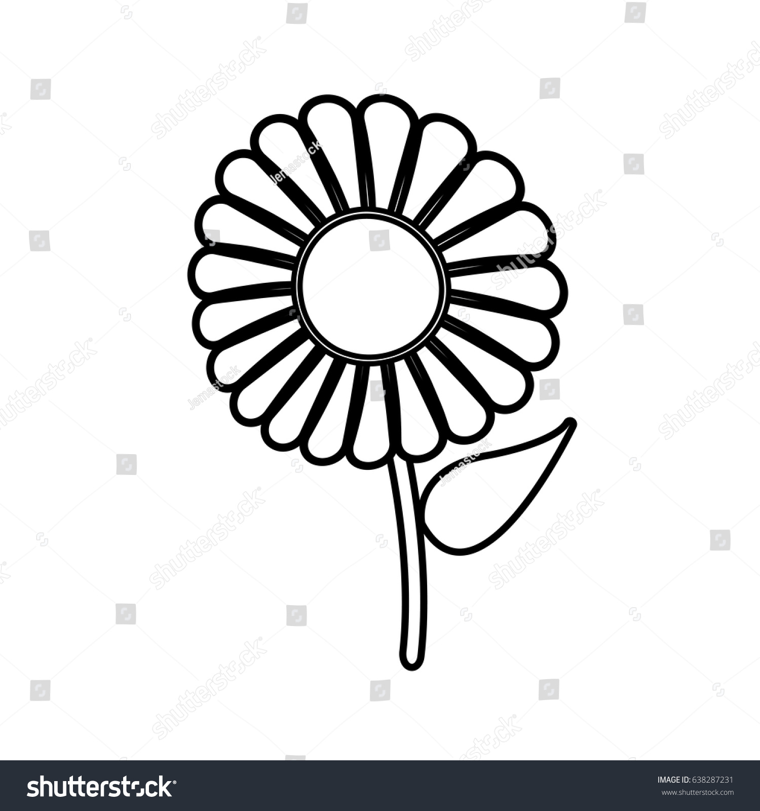 Beautiful Single Daisy Flower Outline Stock Vector Royalty Free