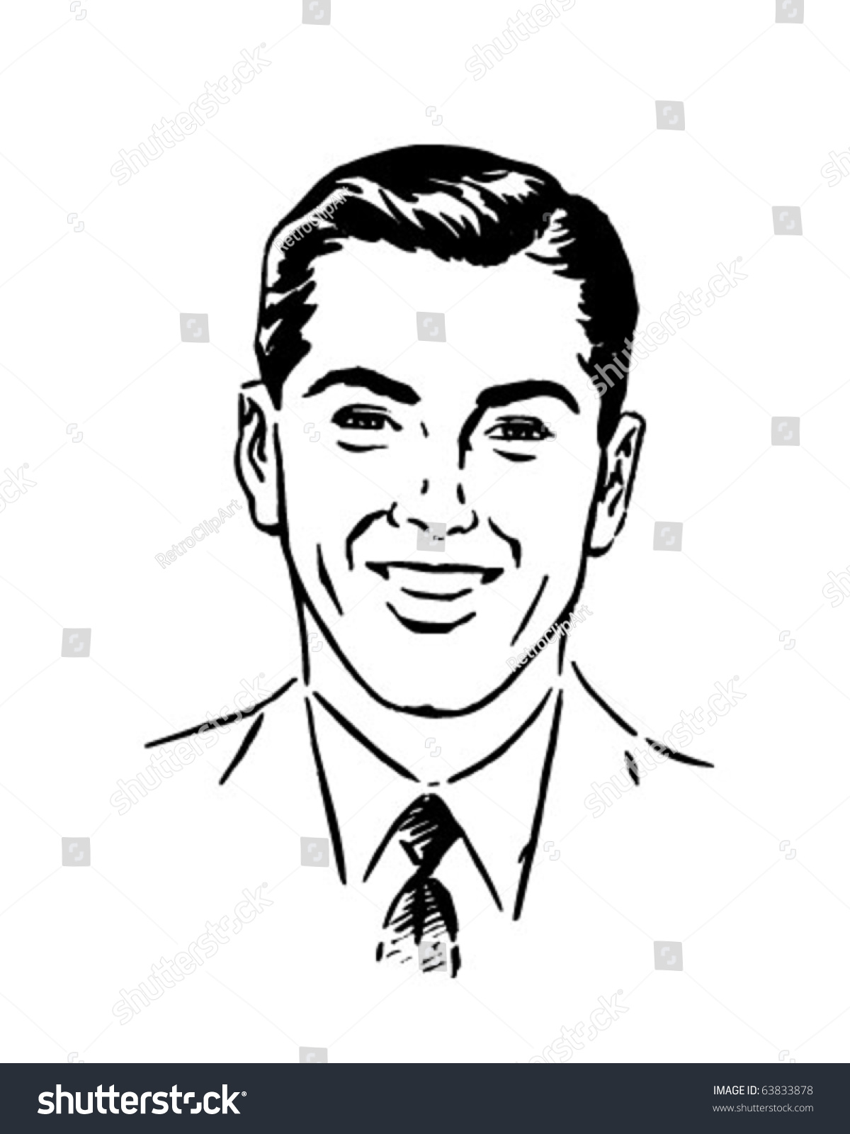 Nice young man retro clipart illustration stock vector - Clipart illustration ...