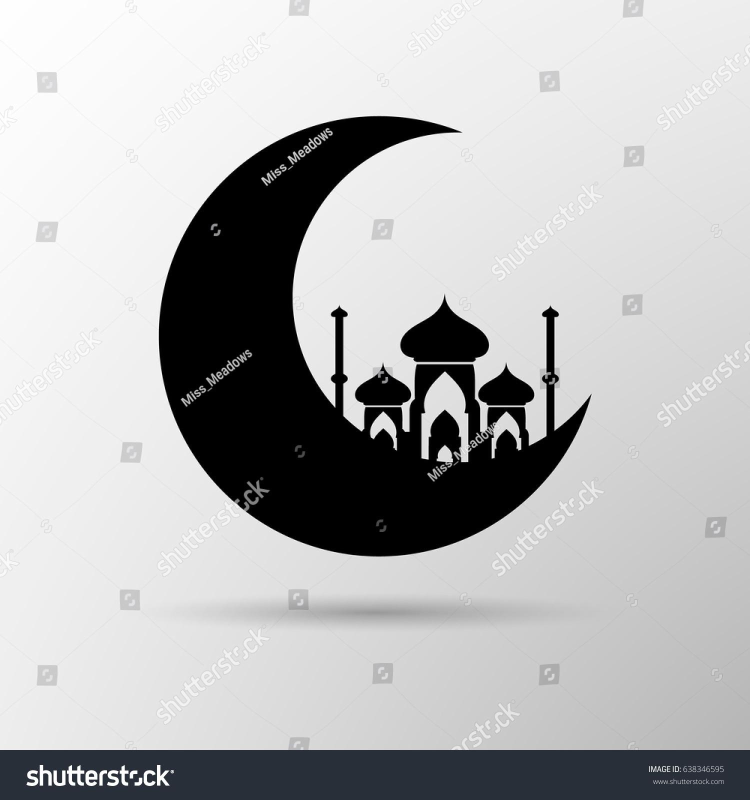 Vector Moon Mosque Icon Islam Symbol Stock Vector Royalty Free