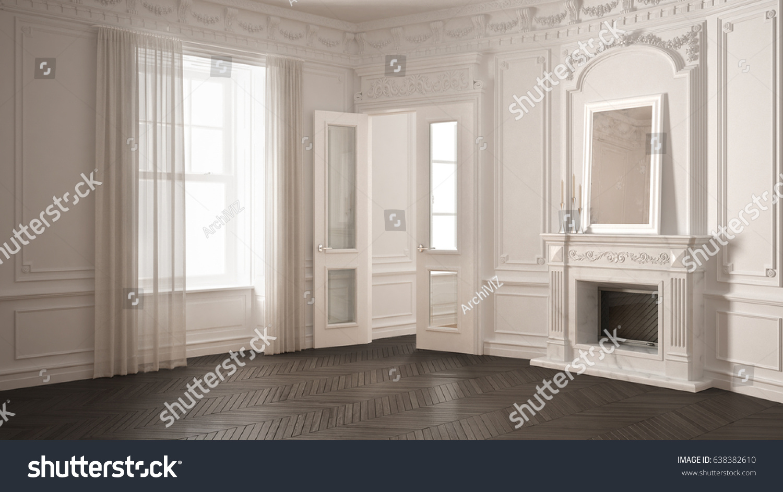 classic empty room big window fireplace stock illustration