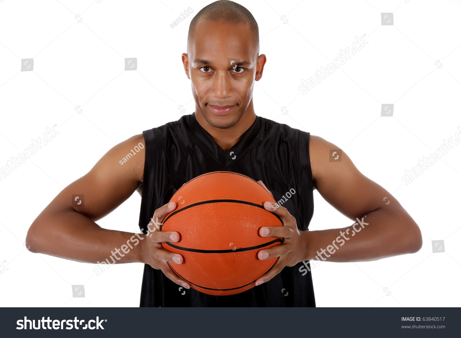 Young Attractive African American Man Basketball Stock ...