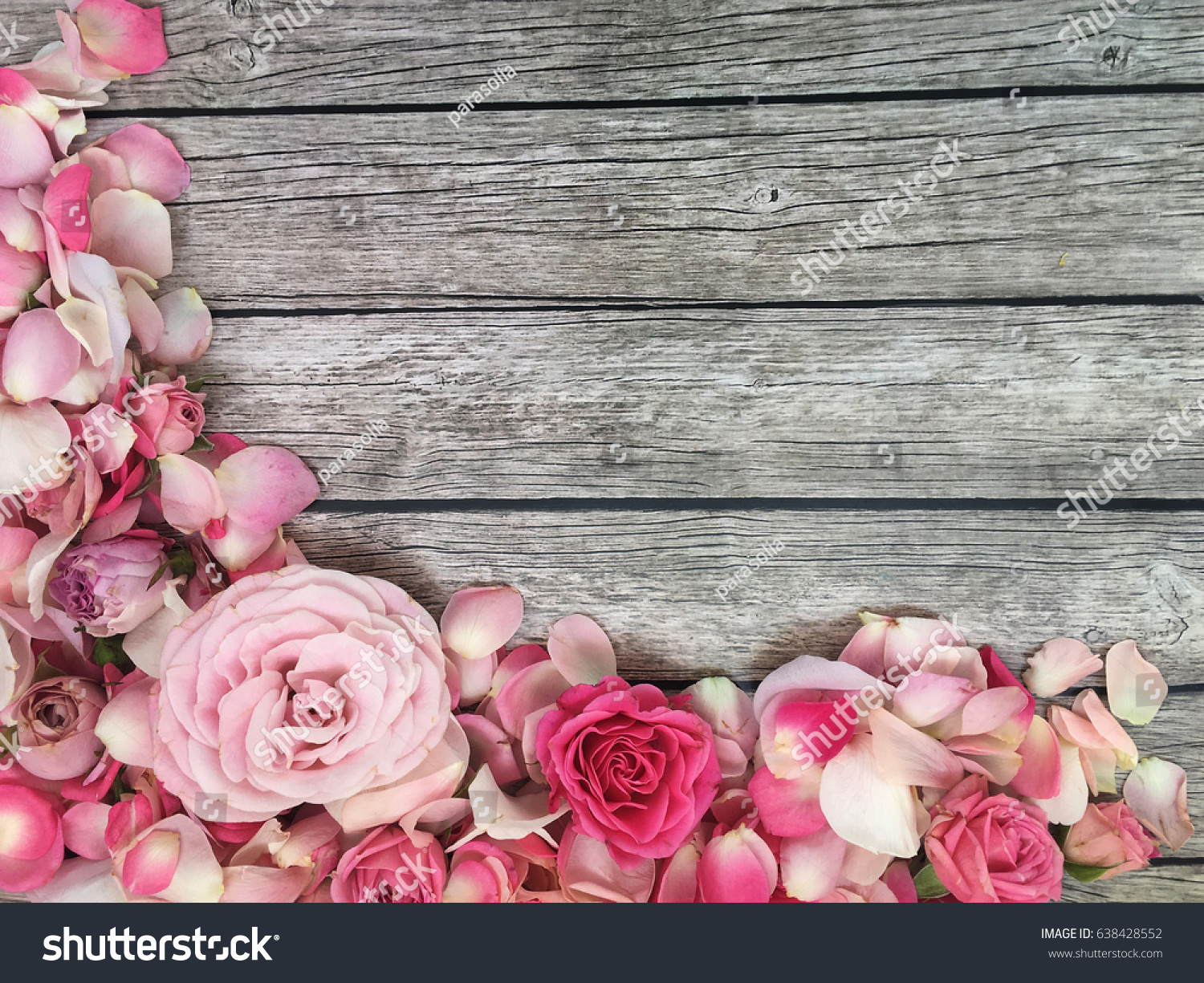 Shabby Roses Wallpaper And Petals On Rustic Wooden Background