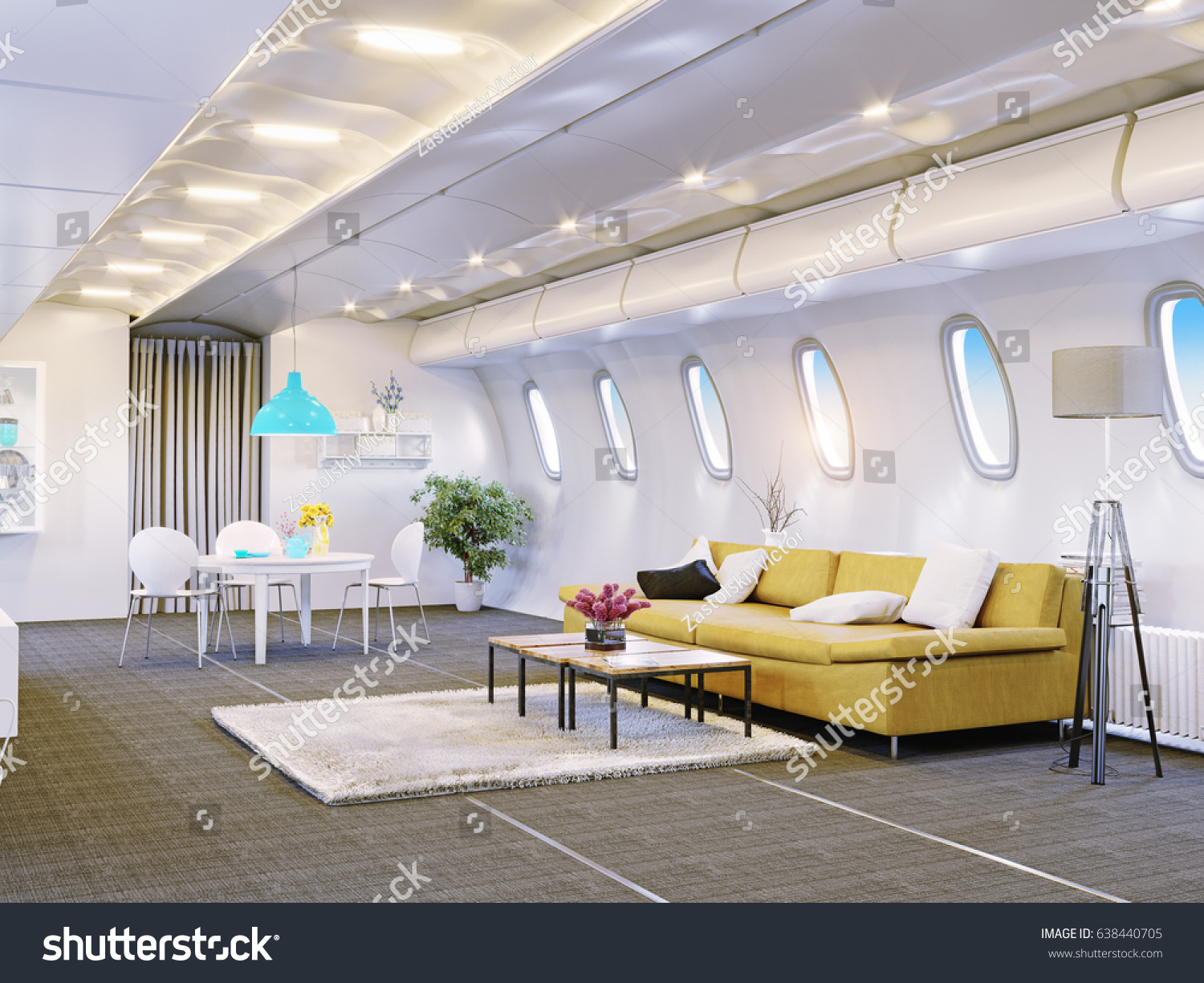 Airplane Cabin Living Room Vip Fly Stock Illustration 638440705 ...