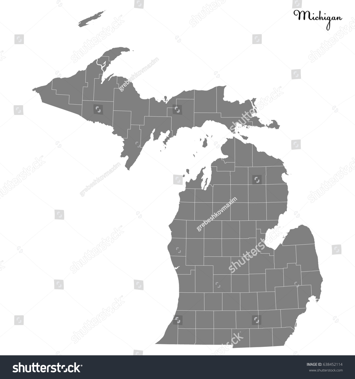 High Quality Map Us State Michigan Stock Vector - State of state of michigan on a us map