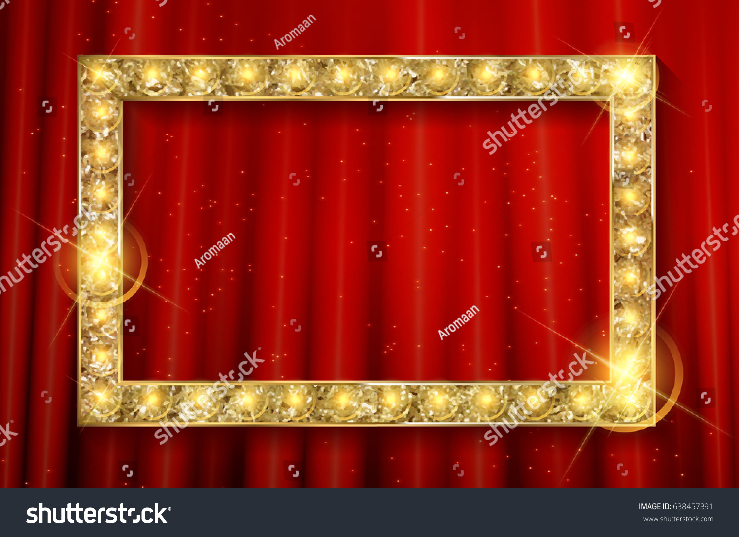 Vector Stage Red Curtain Golden Frame Stock Vector (Royalty Free ...