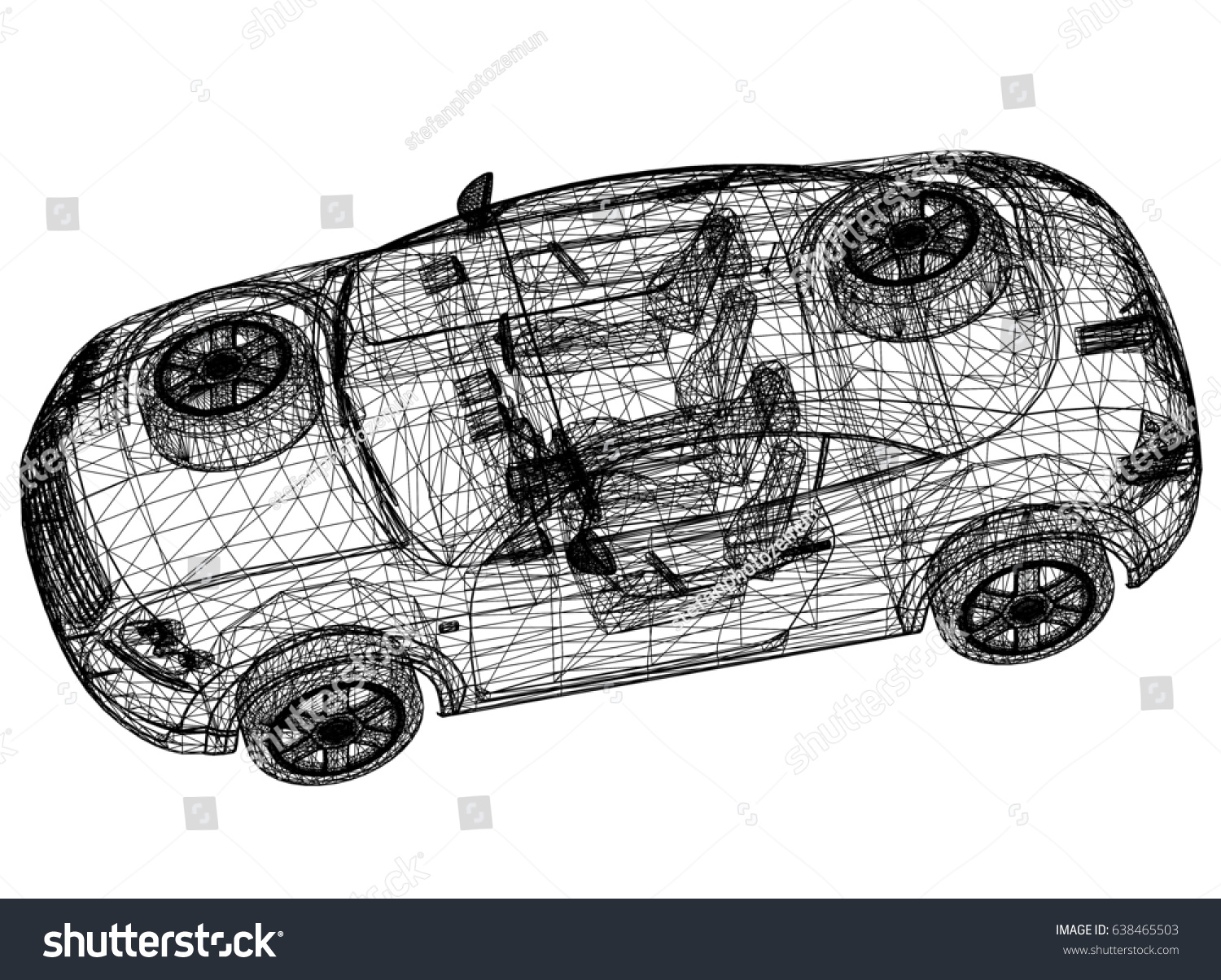 Concept car drawing 3d perspective