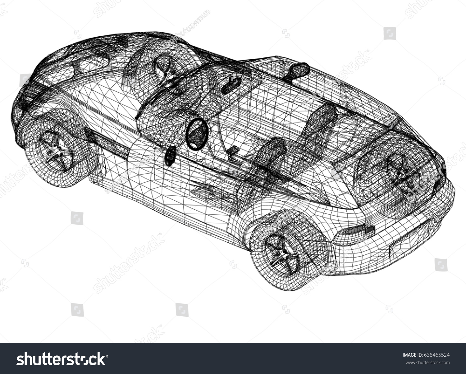 Concept Car Drawing 3 D Perspective Stock Illustration 638465524 ...