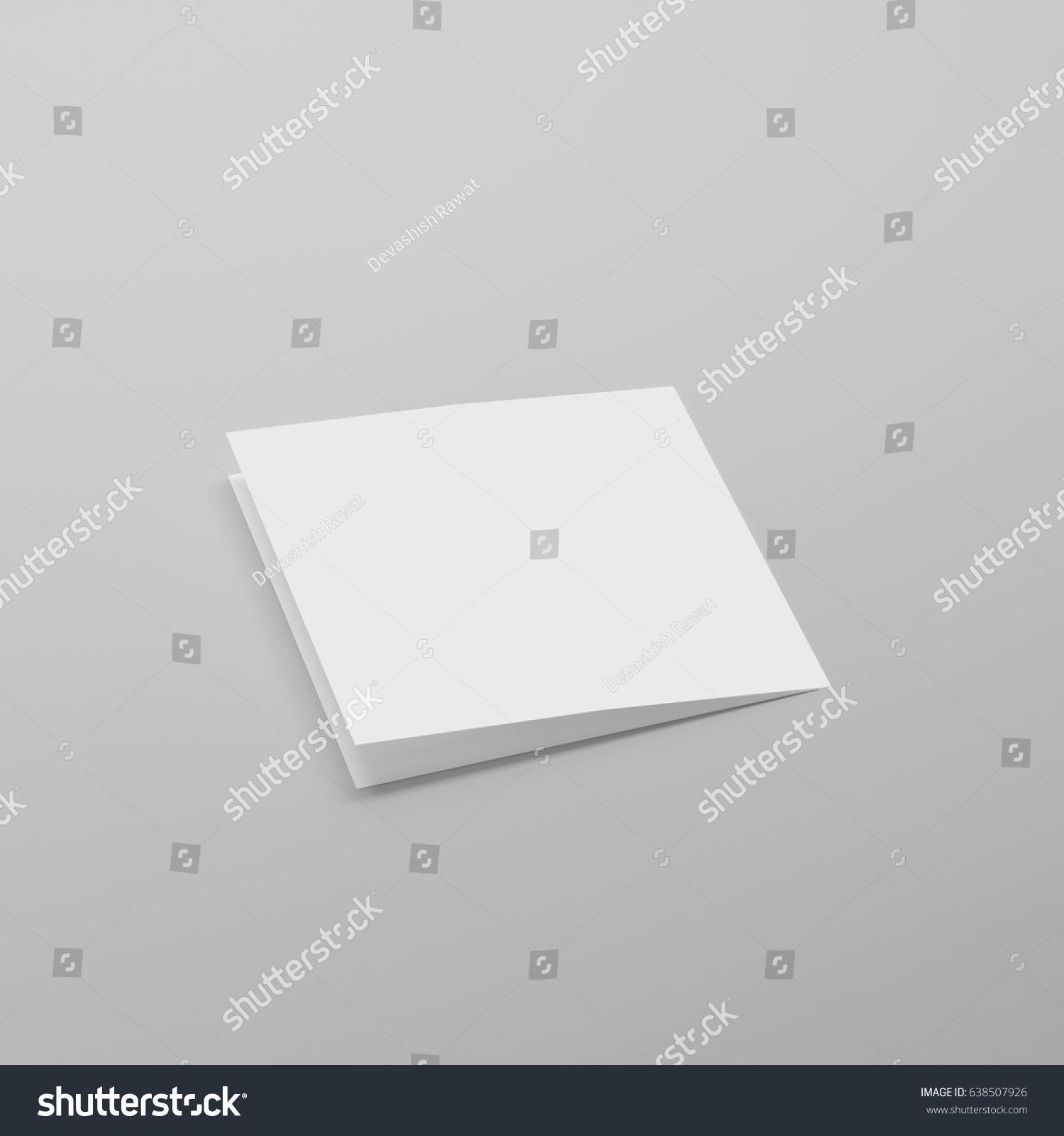 Blank Bi Fold Square Brochure / Leaflet / Pamphlet / Greeting Card Mock Up  Blank Pamphlet Template