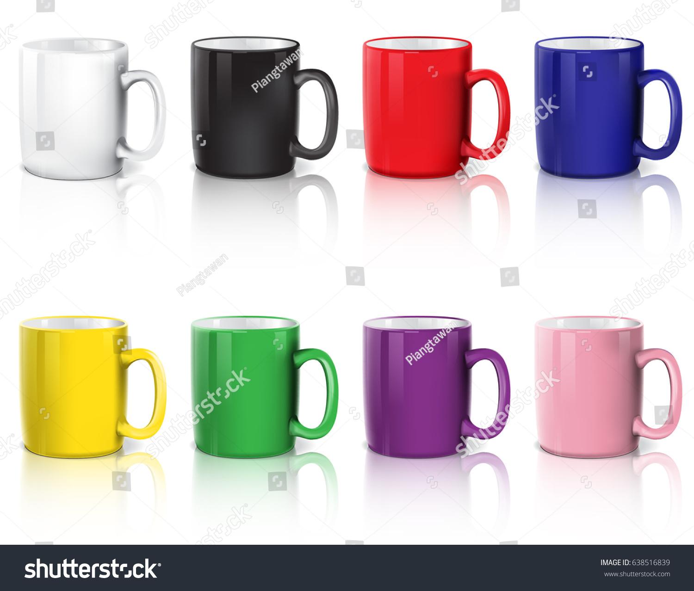 set coffee cups colorful coffee mugs stock vector 638516839