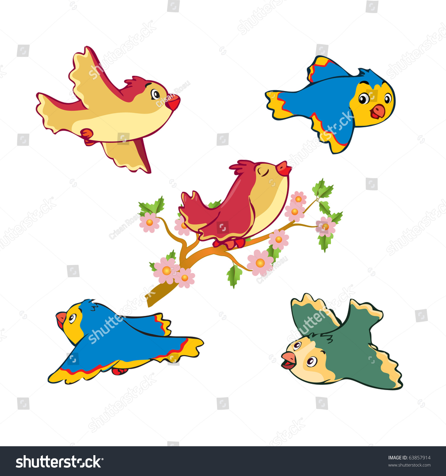 Stock Vector Vector Illustration Cute Funny Birds Flying And Singing C...