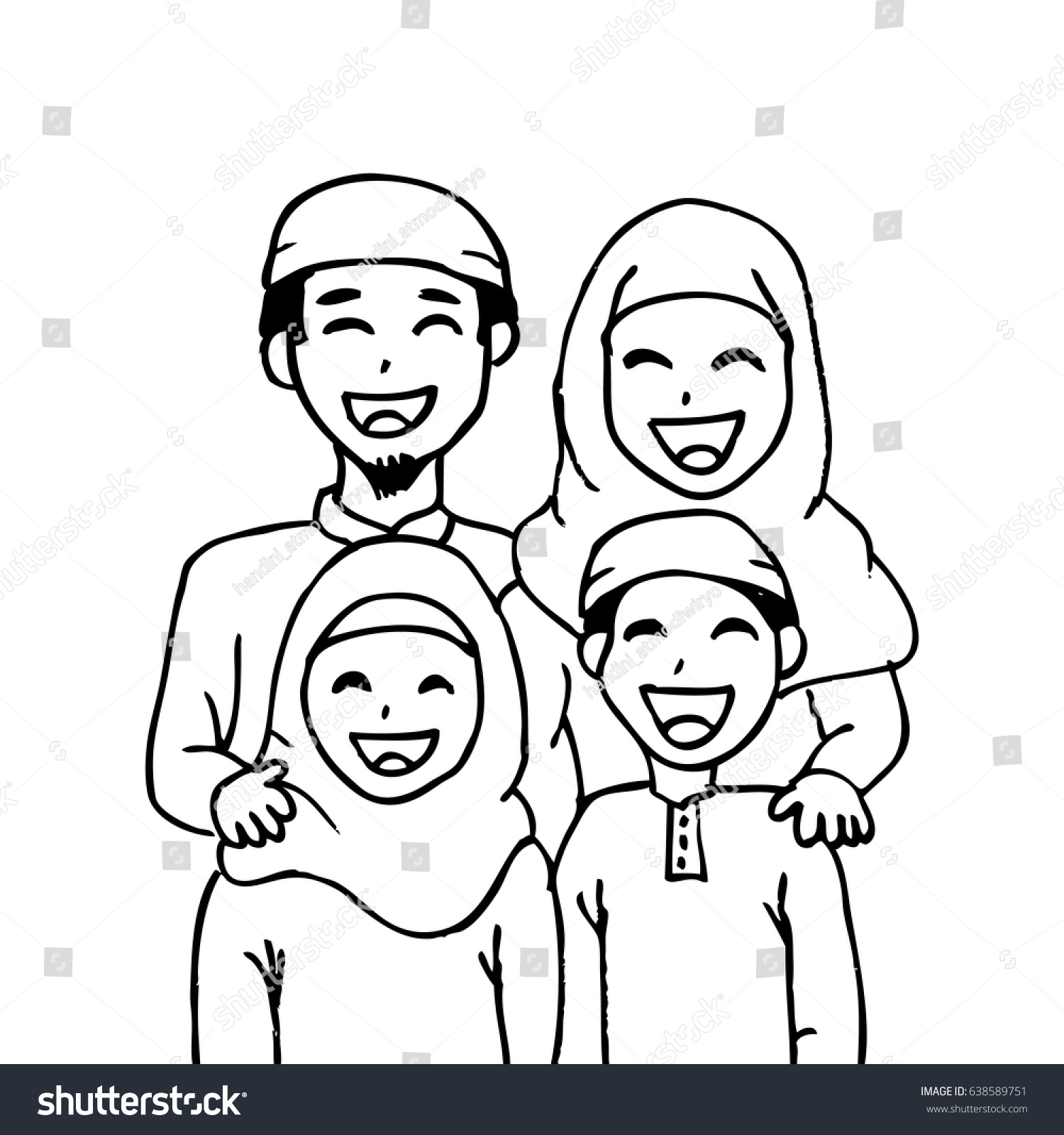 Cartoon Muslim Mother With Son And Daughter Read Book Kids For Happy Family Vector Illustration
