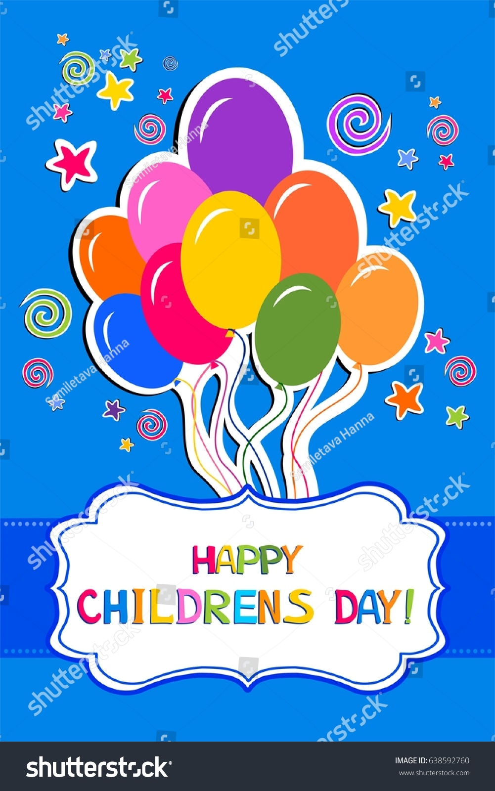Happy Children Day Celebration Blue Greeting Stock Vector Royalty