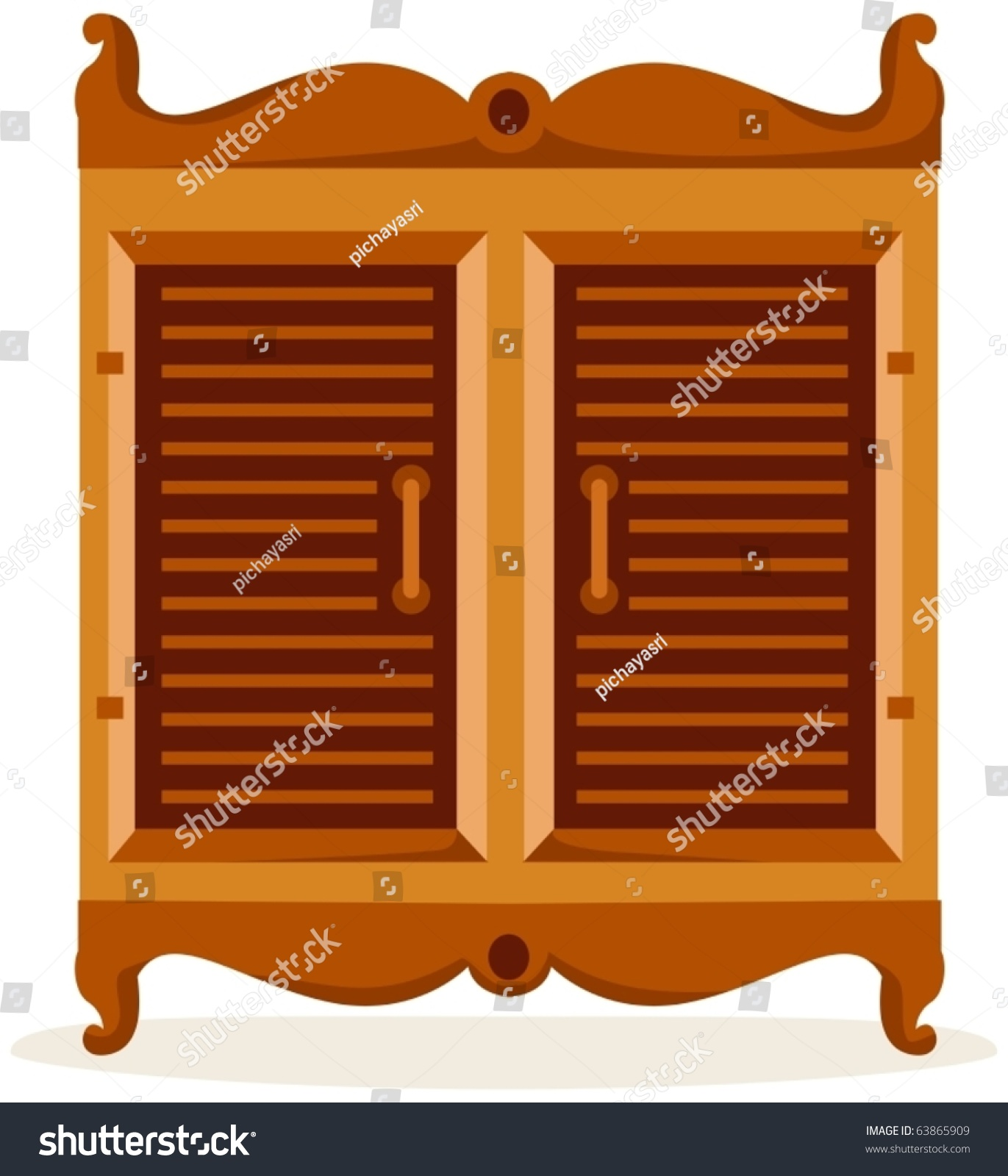 Cupboard Clip Art: Illustration Isolated Cupboard On White Background Stock