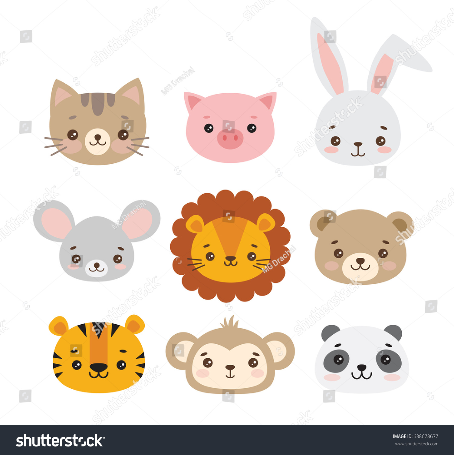 set vector animal faces illustrations cute stock vector 638678677