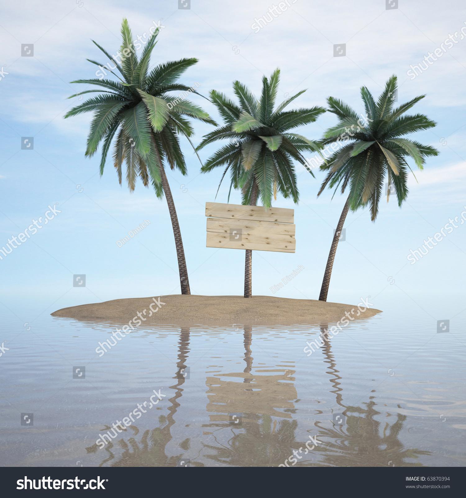 Palm Tree Island: Three Palms On Desert Island 3d Stock Illustration
