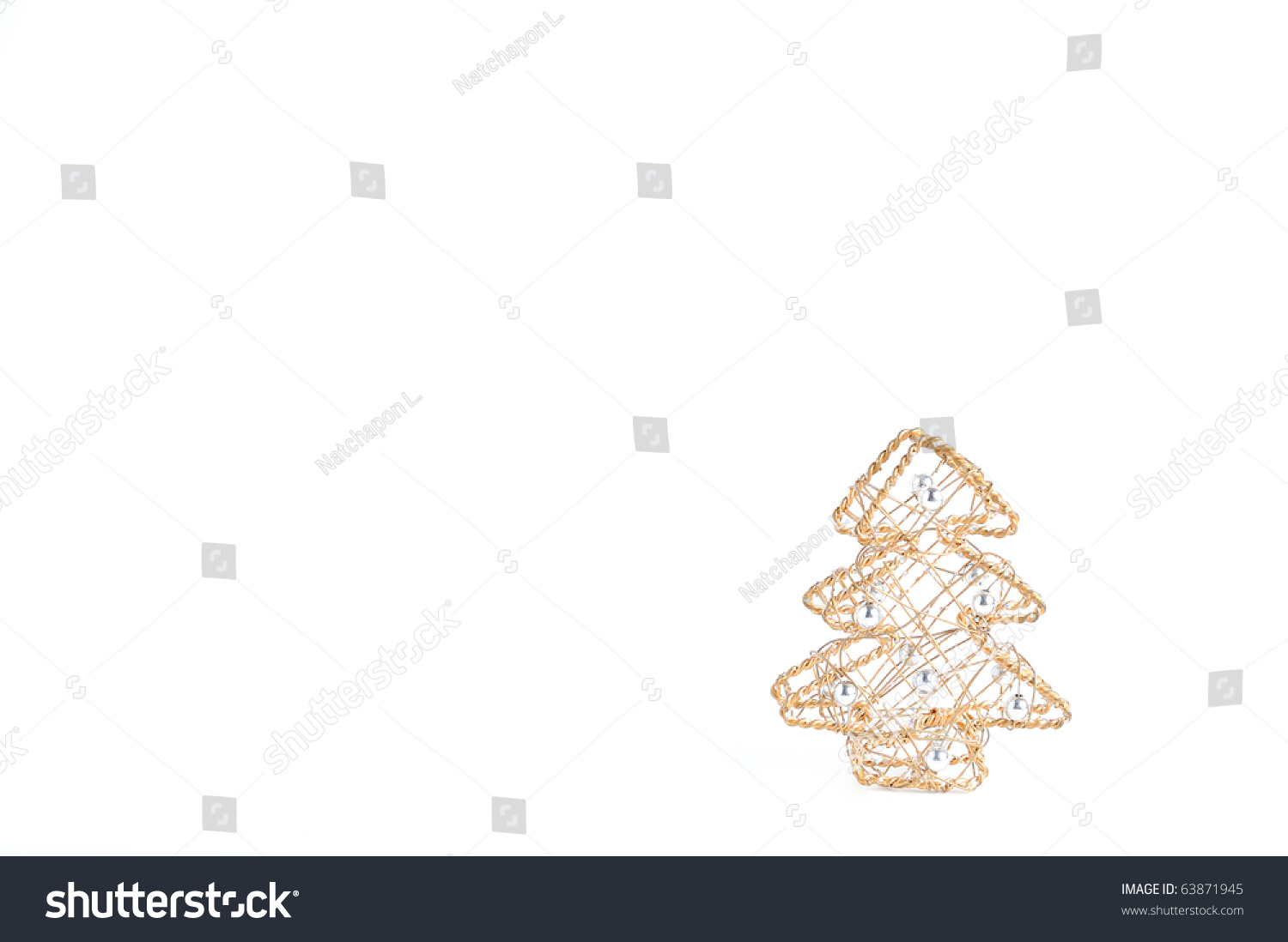 Golden Wired Christmas Tree With Blank Space For Text On White Background