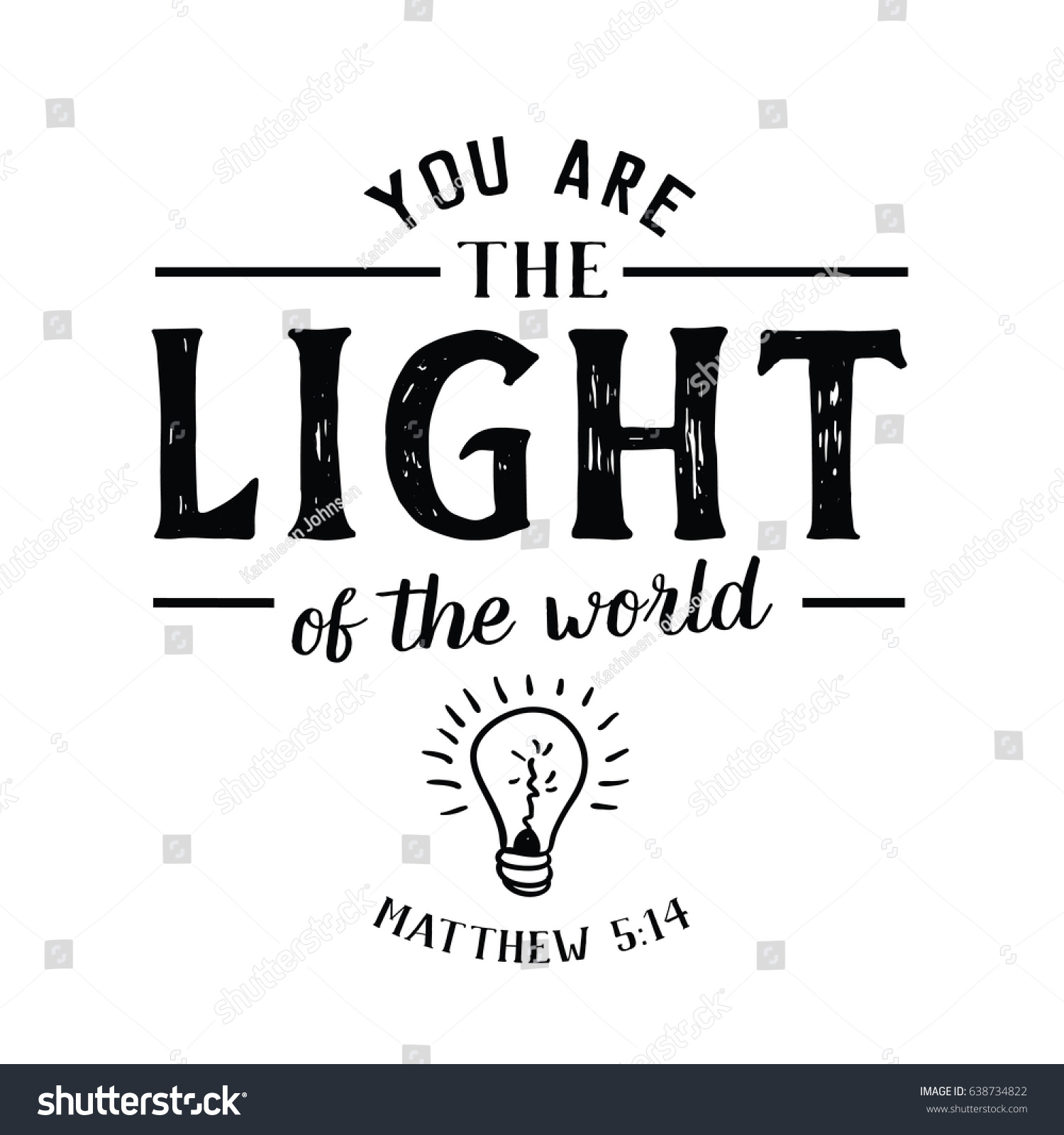 You Light World Christian Hand Lettering Stock Vector Royalty Free