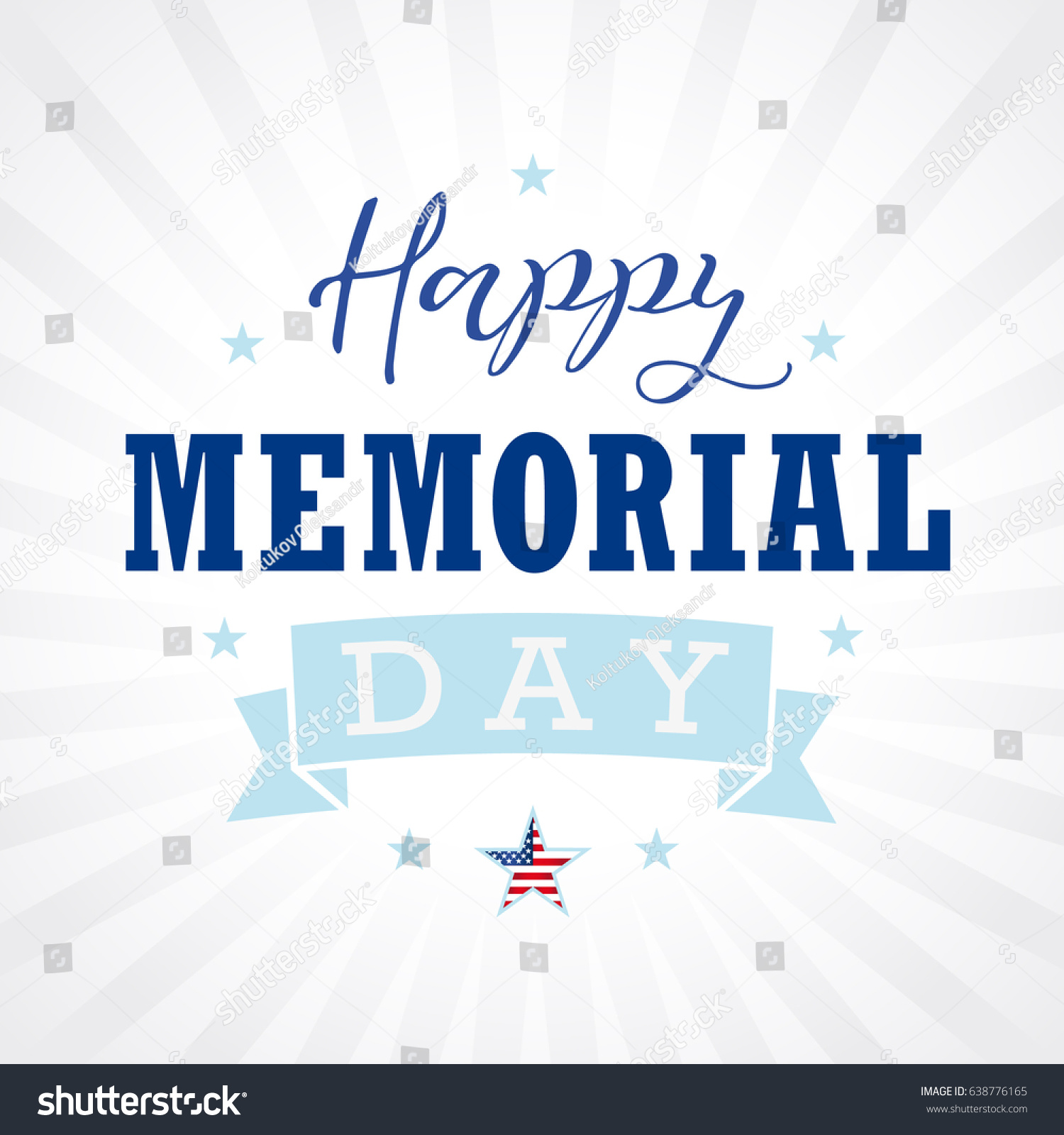 happy memorial day calligraphy banner template stock illustration