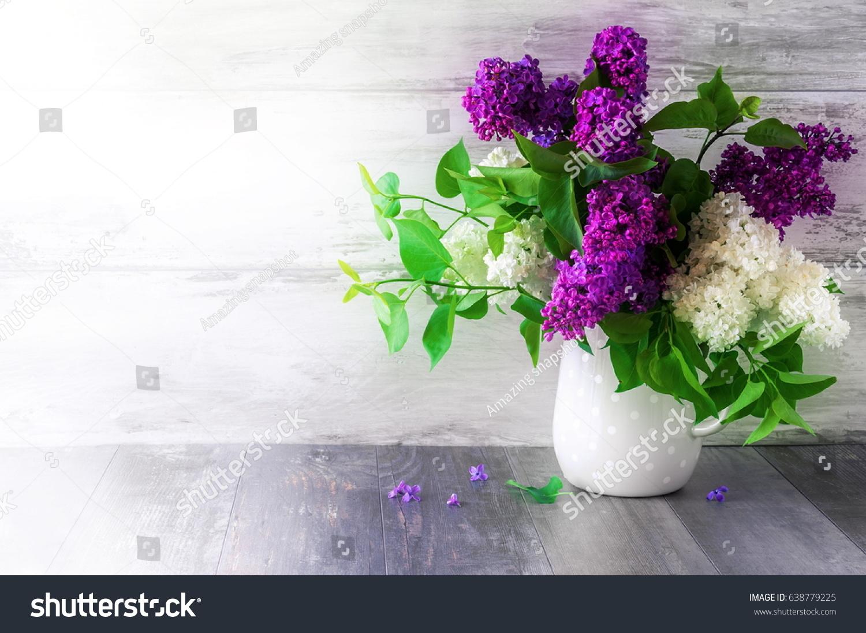Bouquet Lilacs Vase Beautiful Violet White Stock Photo Edit Now