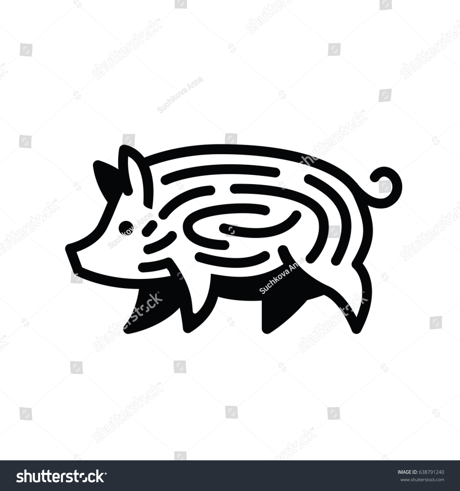 linear black drawing pig swine stylized stock vector royalty free