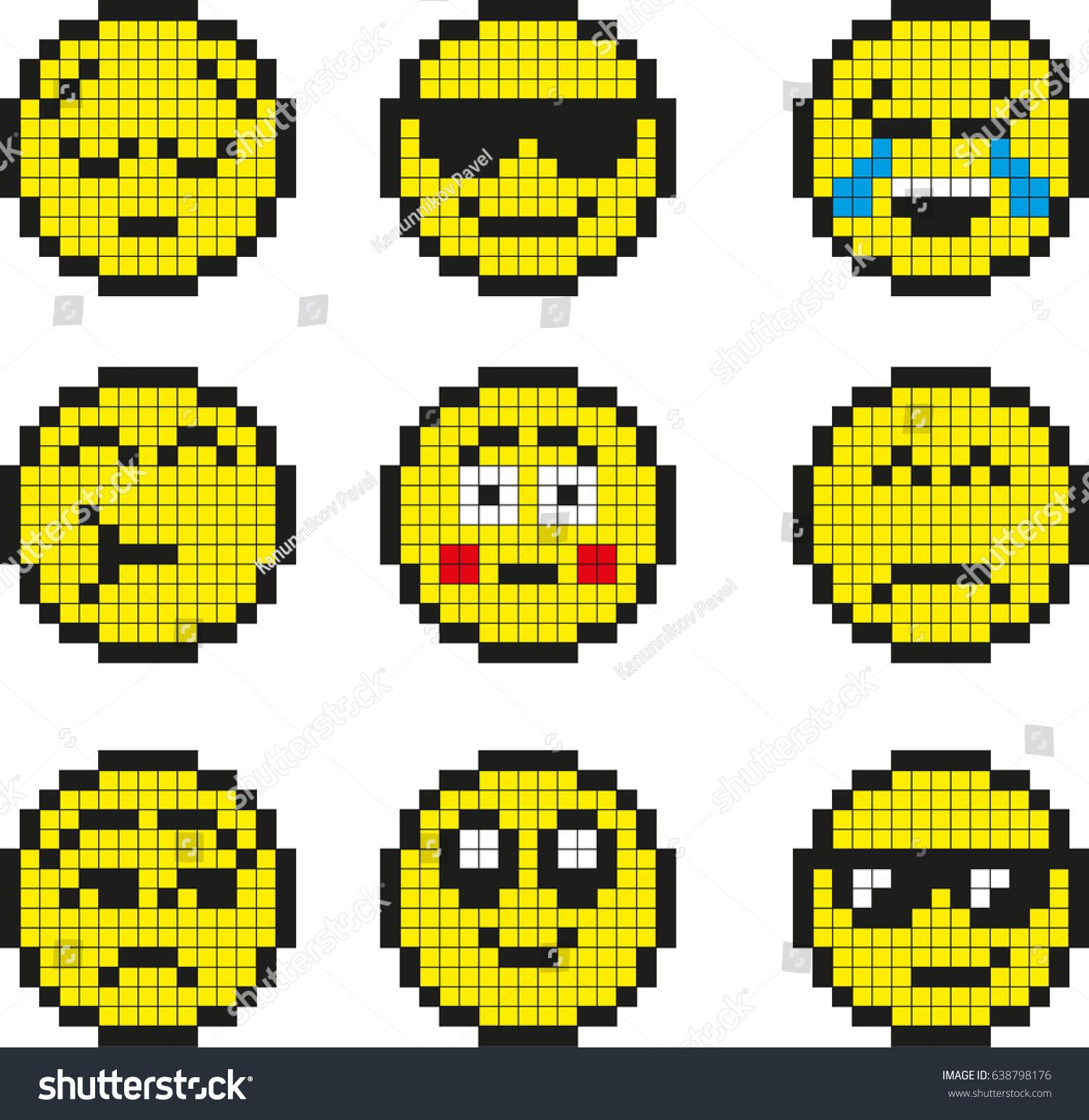Image Vectorielle De Stock De Set Vector Pixel Smileys 638798176
