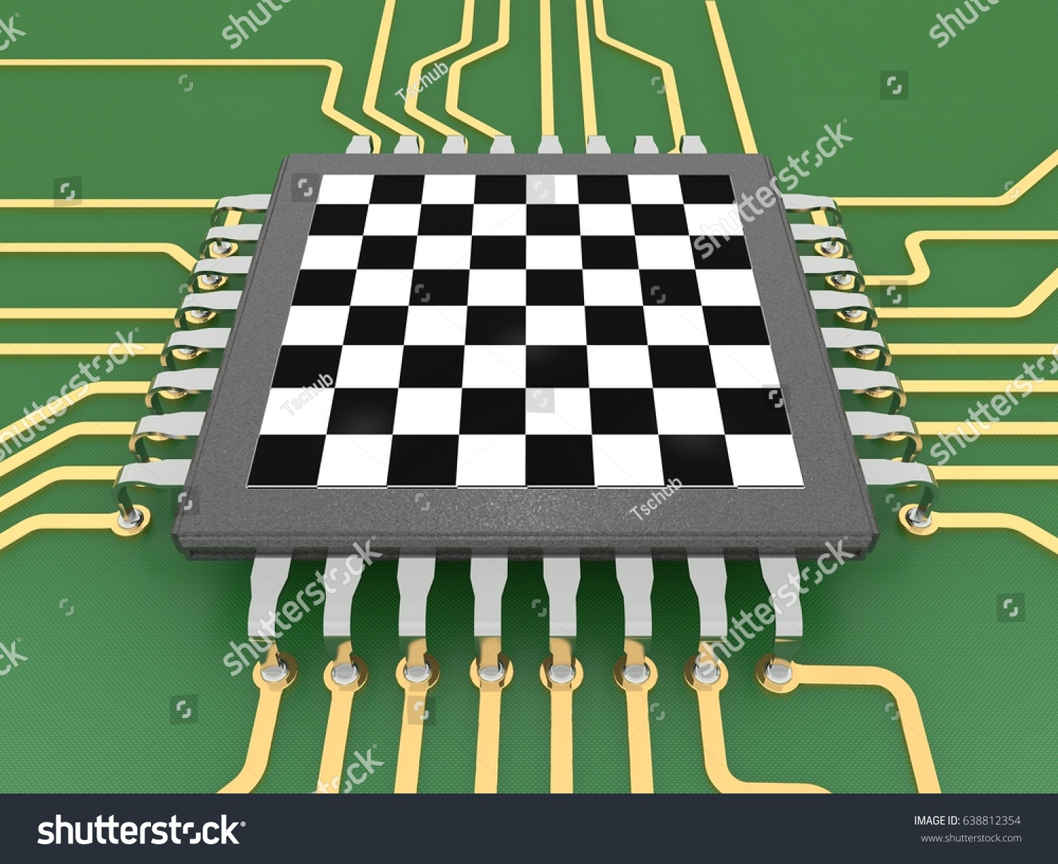 Royalty Free Stock Illustration Of Image Processor Form Chessboard Circuit Board Games An In The A On With Conductors