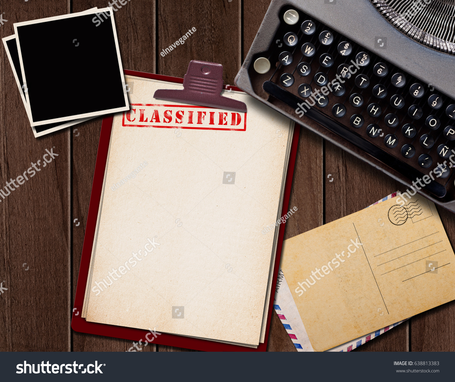 Vintage Desk Top Secret Documents Photographs Stock Illustration
