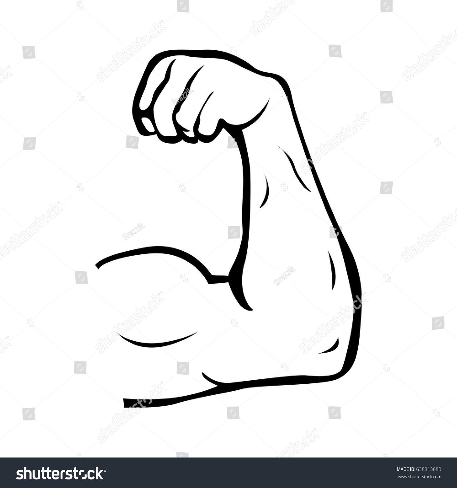 Strong Power Muscle Arms Vector Icon Stock Vector Royalty Free