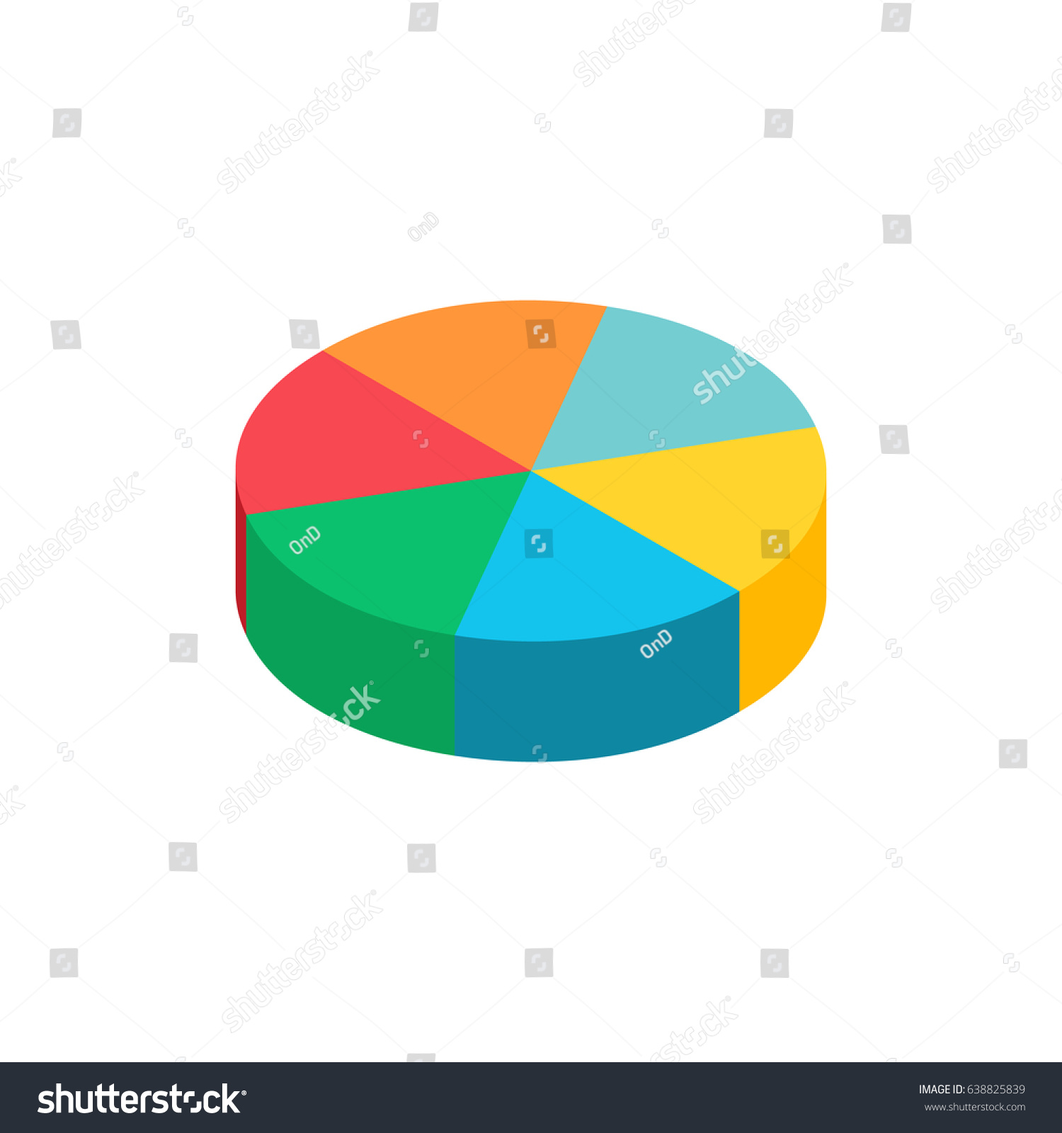 bulk isometric pie graph. template realistic three-dimensional pie