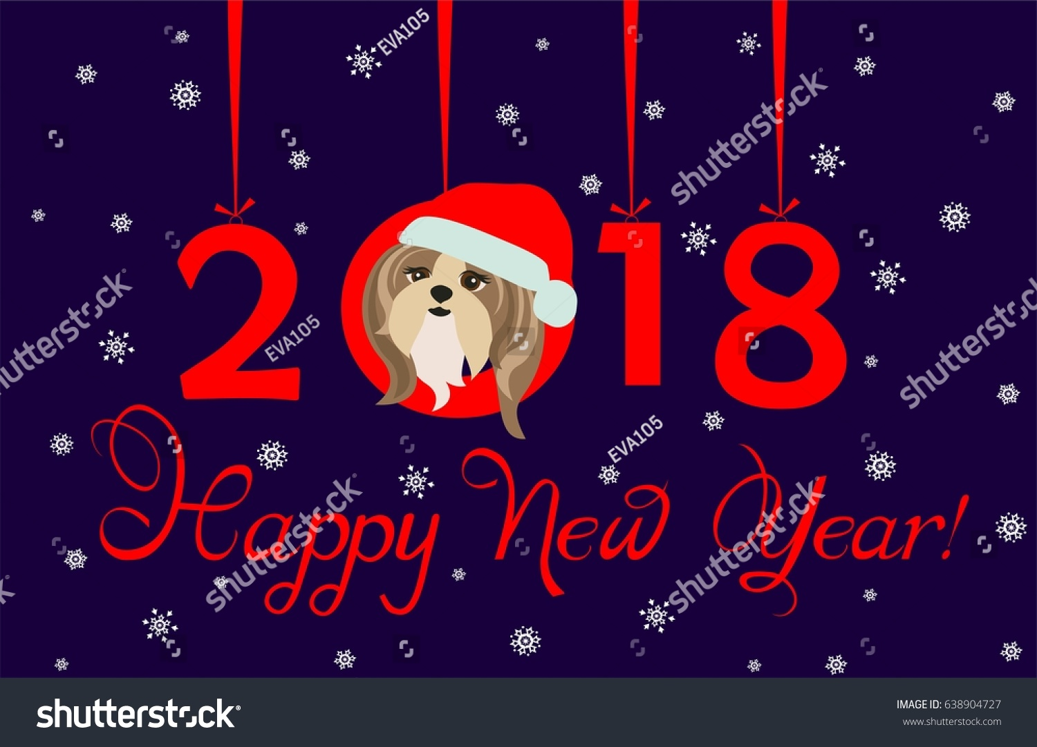 happy new year 2018 greeting banner with hanging xmas paper numbers and funny puppy
