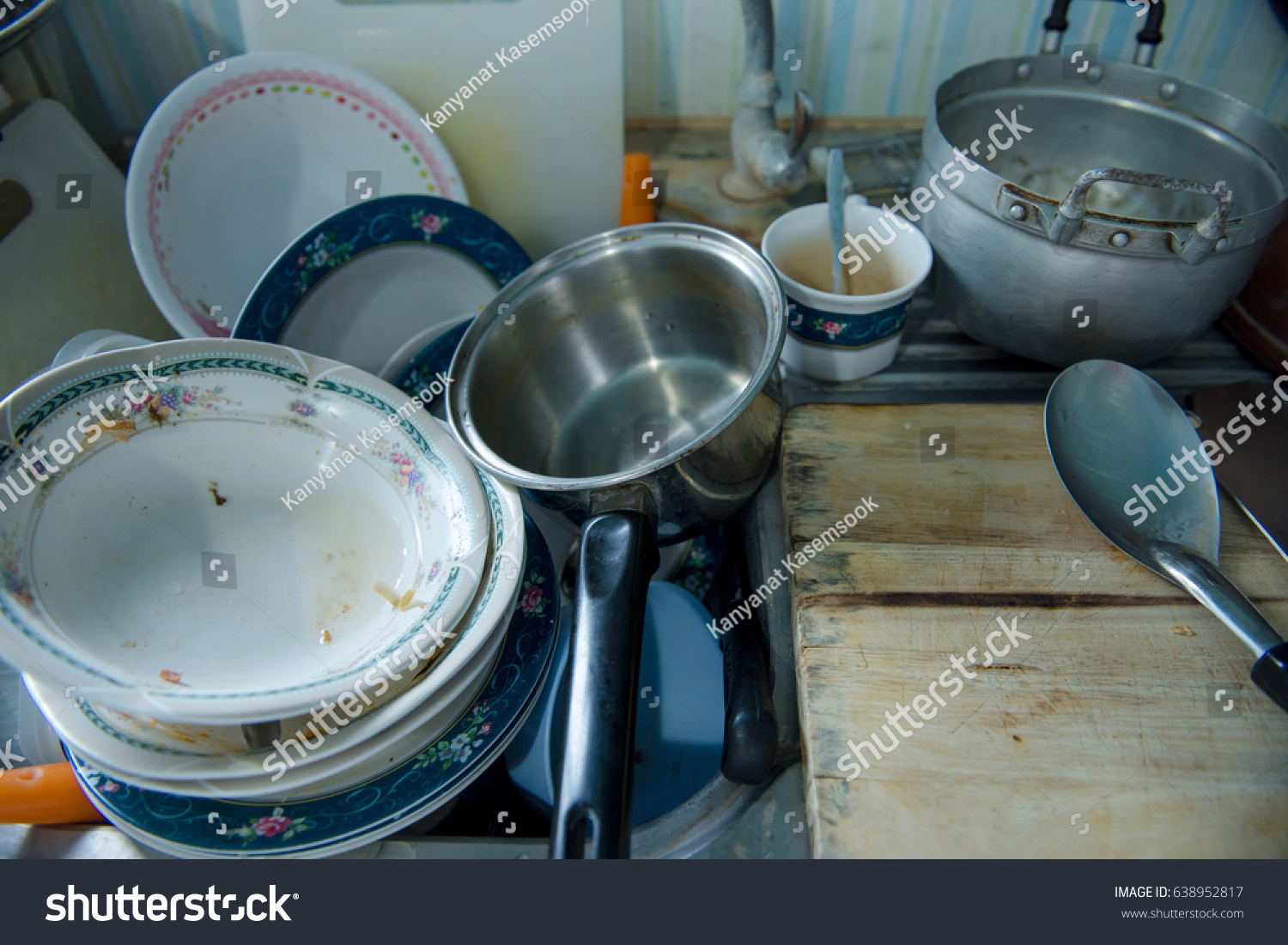 Very Dirty Kitchen Dirty Dishes Sink Stock Photo (Royalty Free ...