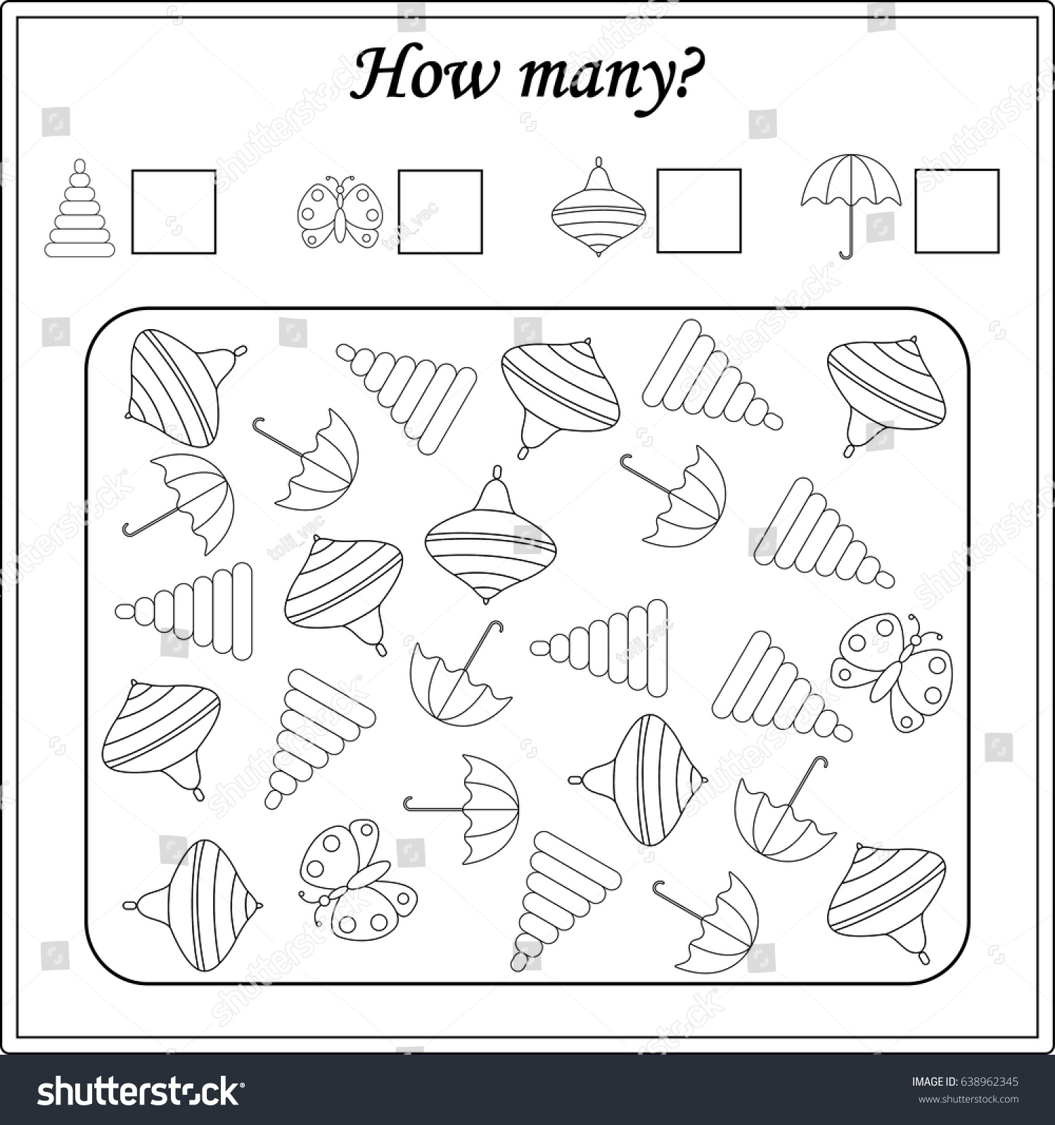 Mathematics Task How Many Objects Learning Stock Vector Royalty