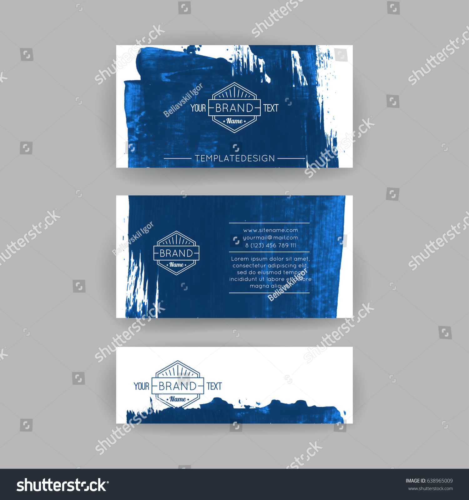 Set Vector Business Card Templates Brush Stock Vector 638965009 ...