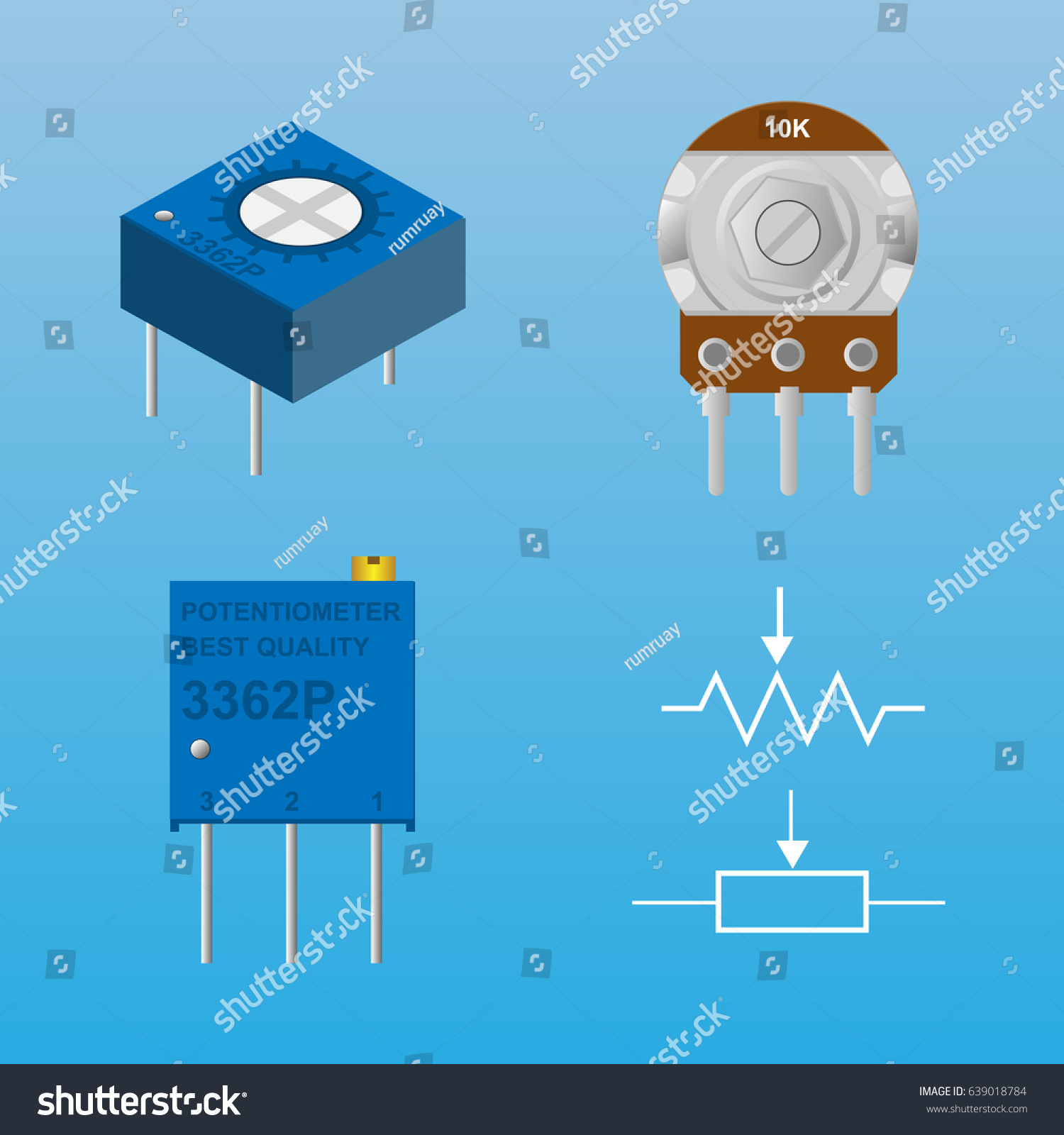 Circuit Diagram Symbol For Potentiometer Trusted Schematics Wiring Adjustment Resistor Stock Vector Royalty Free Art Clip Battery