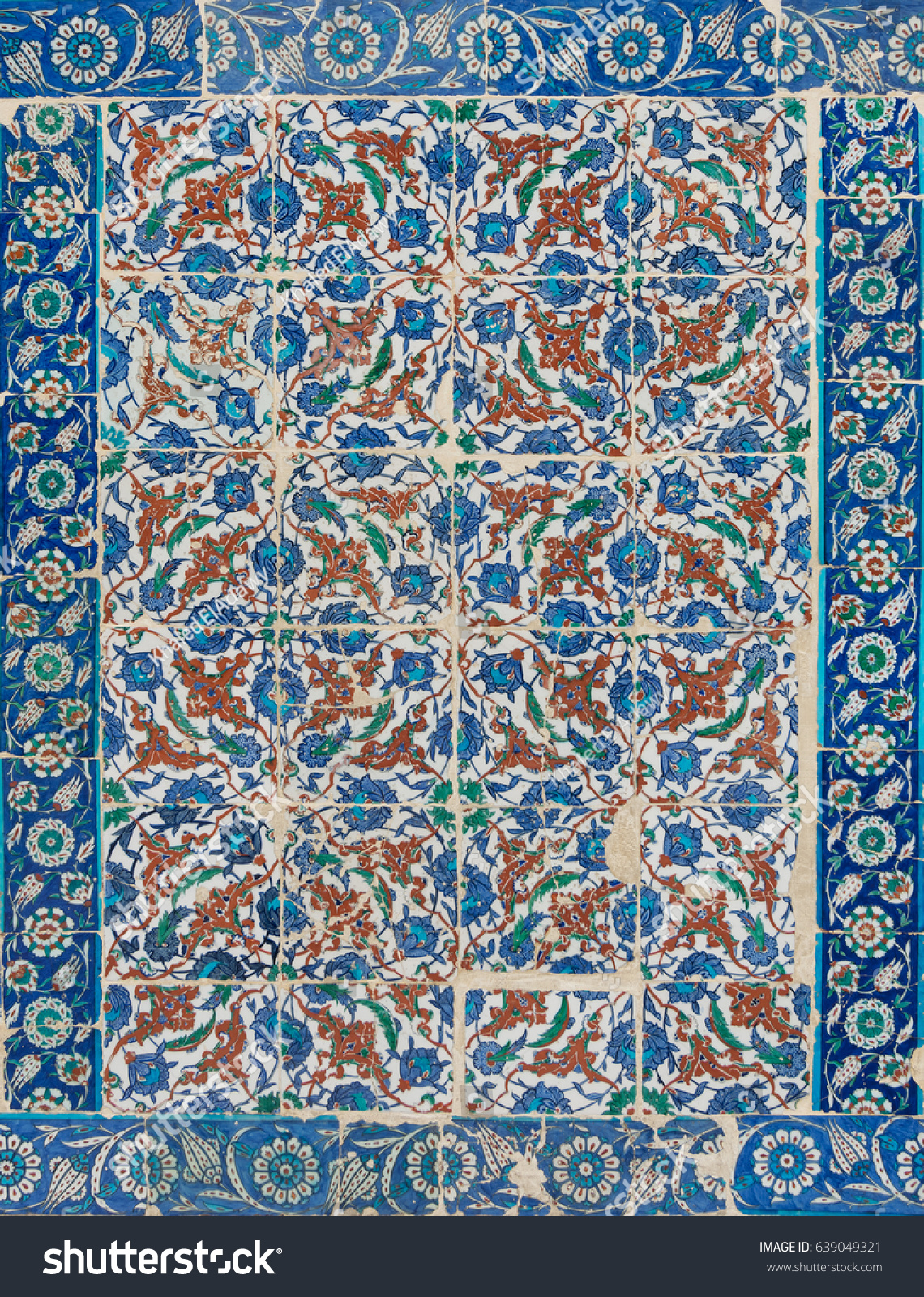 Istanbul turkey april 24 2017 old stock photo 639049321 shutterstock istanbul turkey april 24 2017 old ceramic wall tiles with floral blue doublecrazyfo Image collections