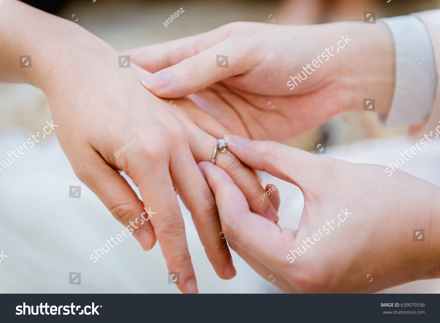 Wearing Wedding Ring Ceremony Stock Photo (100% Legal Protection ...