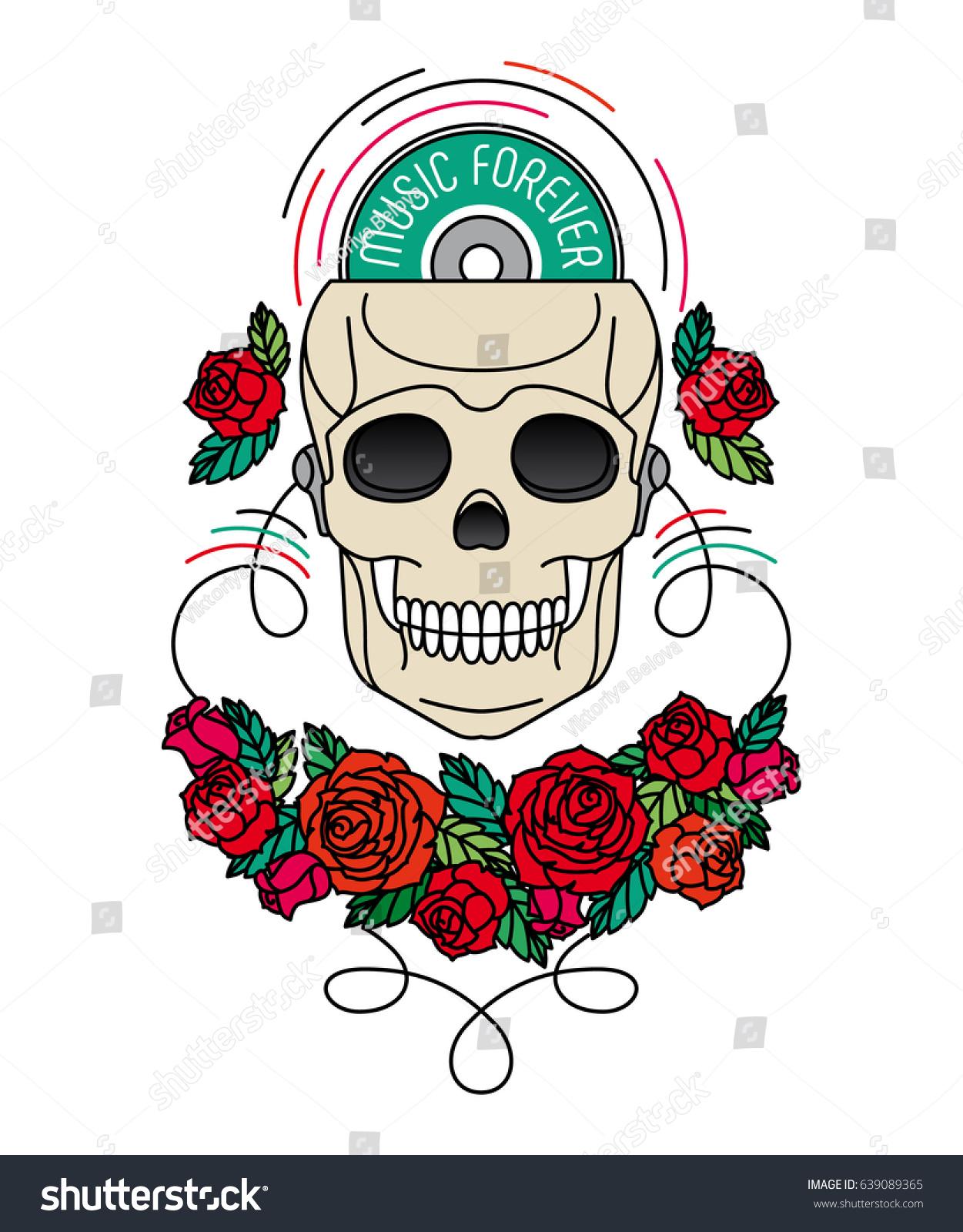 Фото тату череп с наушниками