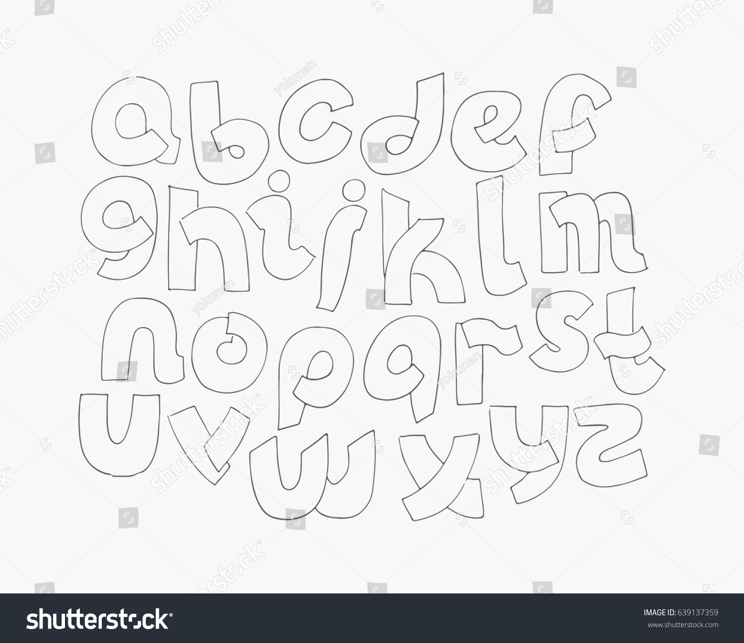 2d Hand Drawn Alphabet Letters From A To Z In Simple Rounded Style Decorative Calligraphy