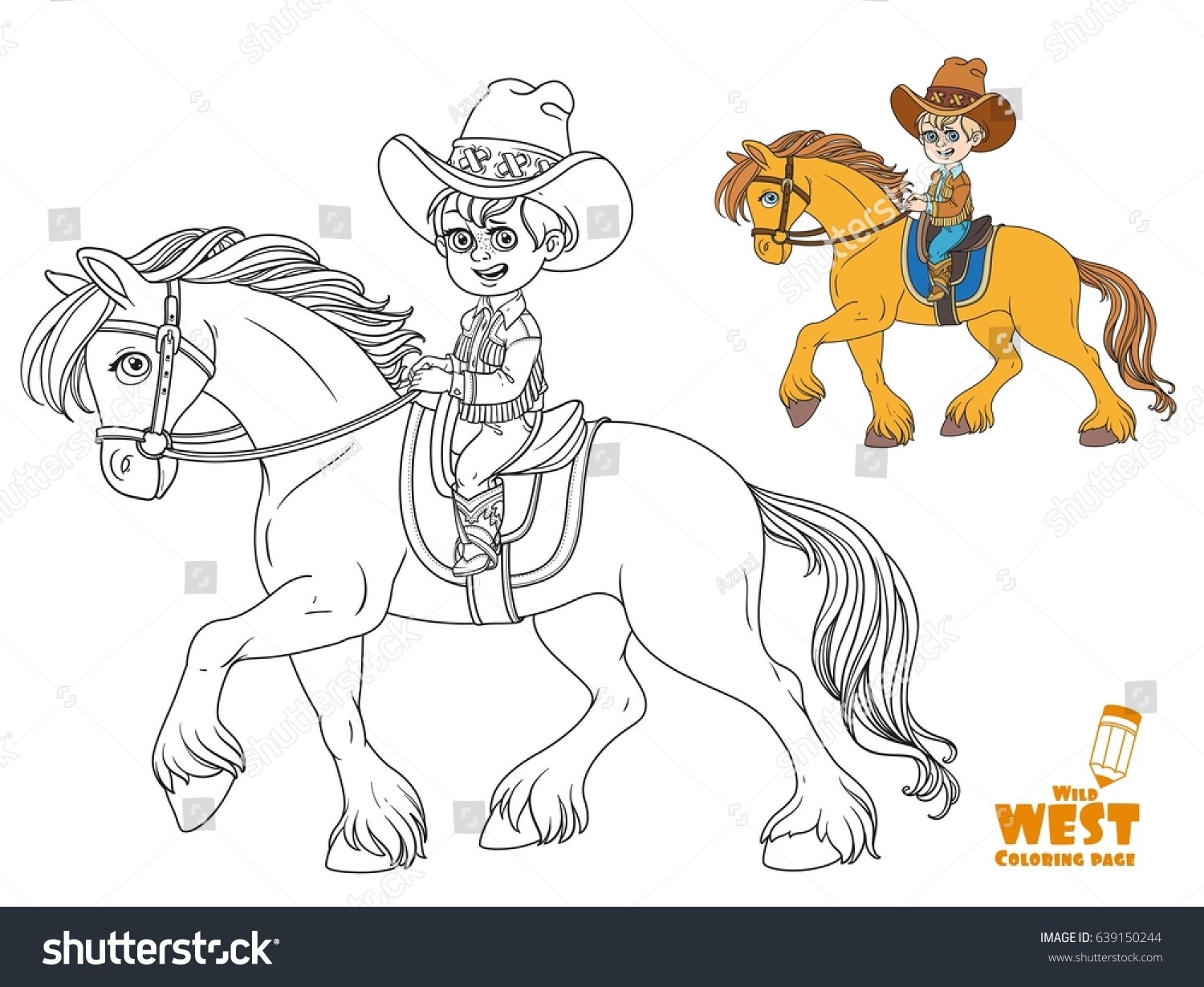 cute little boy cowboy suit riding stock vector 639150244