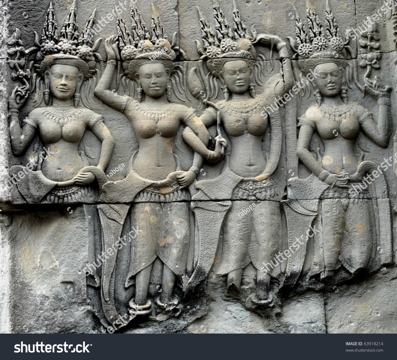 Detail stone carvings angkor watcambodia stock photo