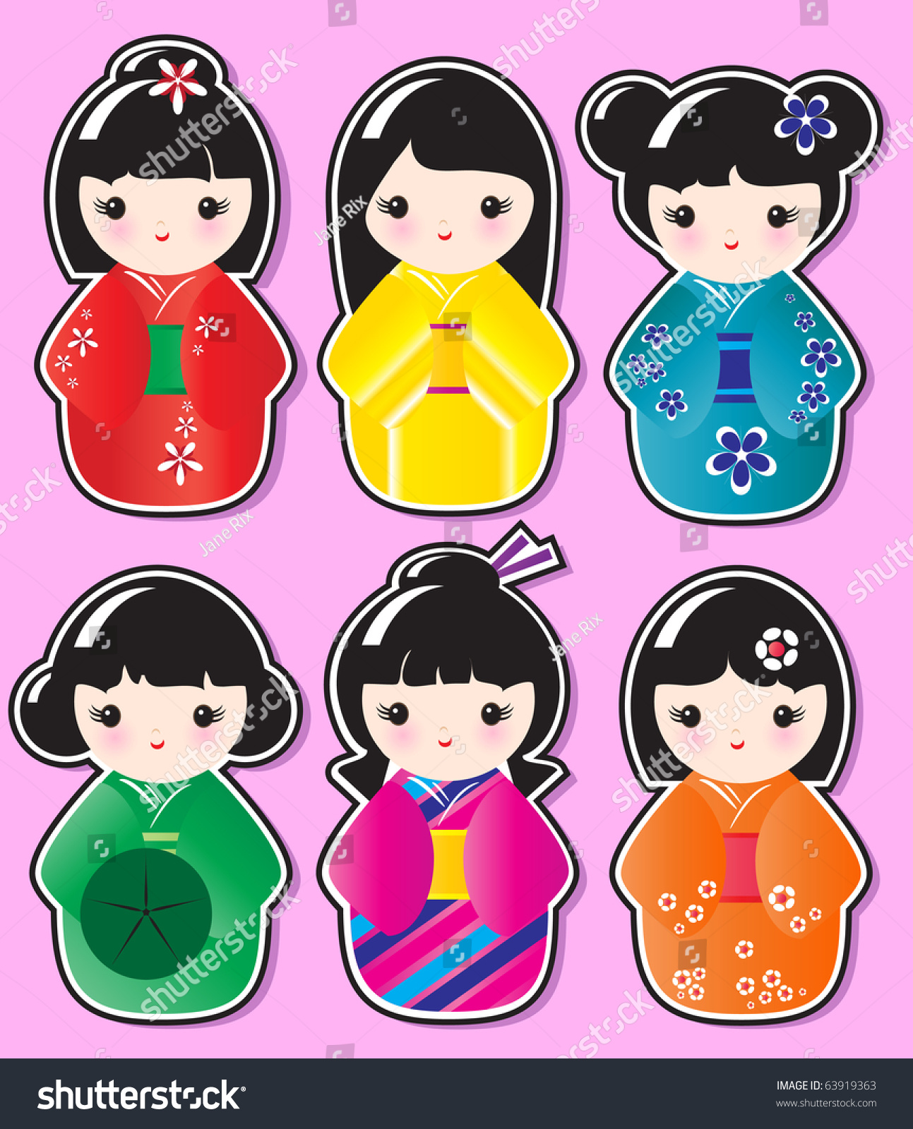 Kokeshi doll stickers various designs on stock vector for Stickers kokeshi