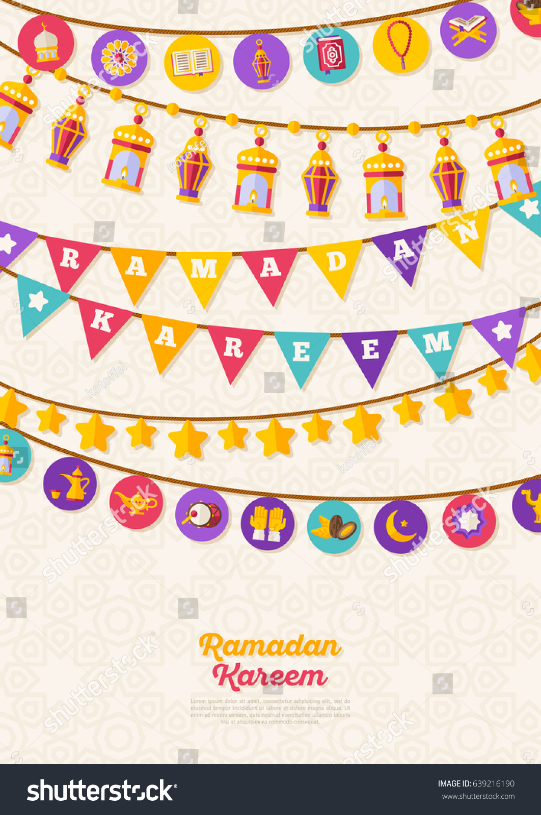 Vector bunting flags lovely celebration card with colorful paper - Ramadan Kareem Concept Banner With Arabic Decorations On Beige Background Vector Illustration Eid Mubarak