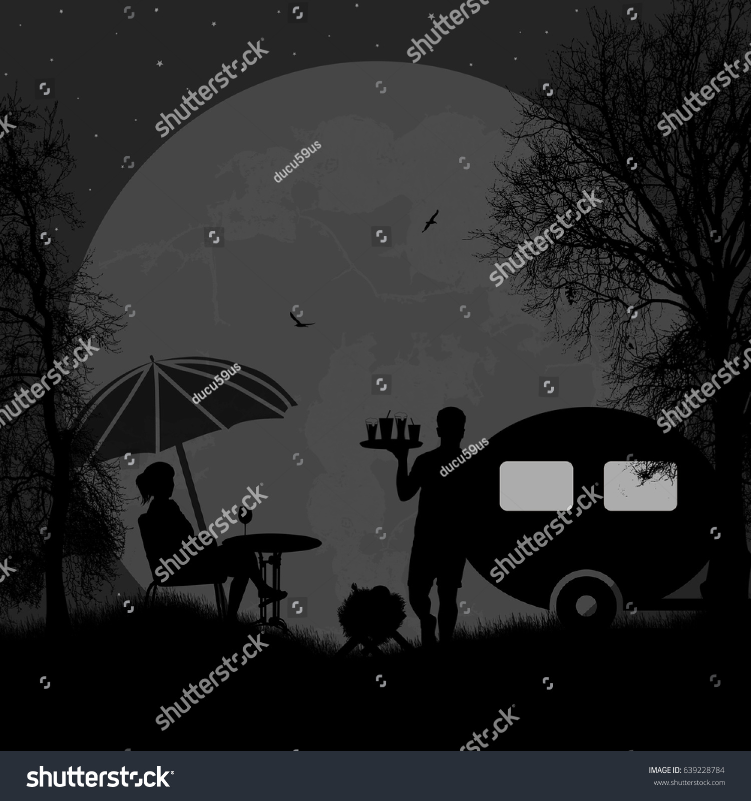 Family Camping On Beautiful Campsite At Night Vector Illustration