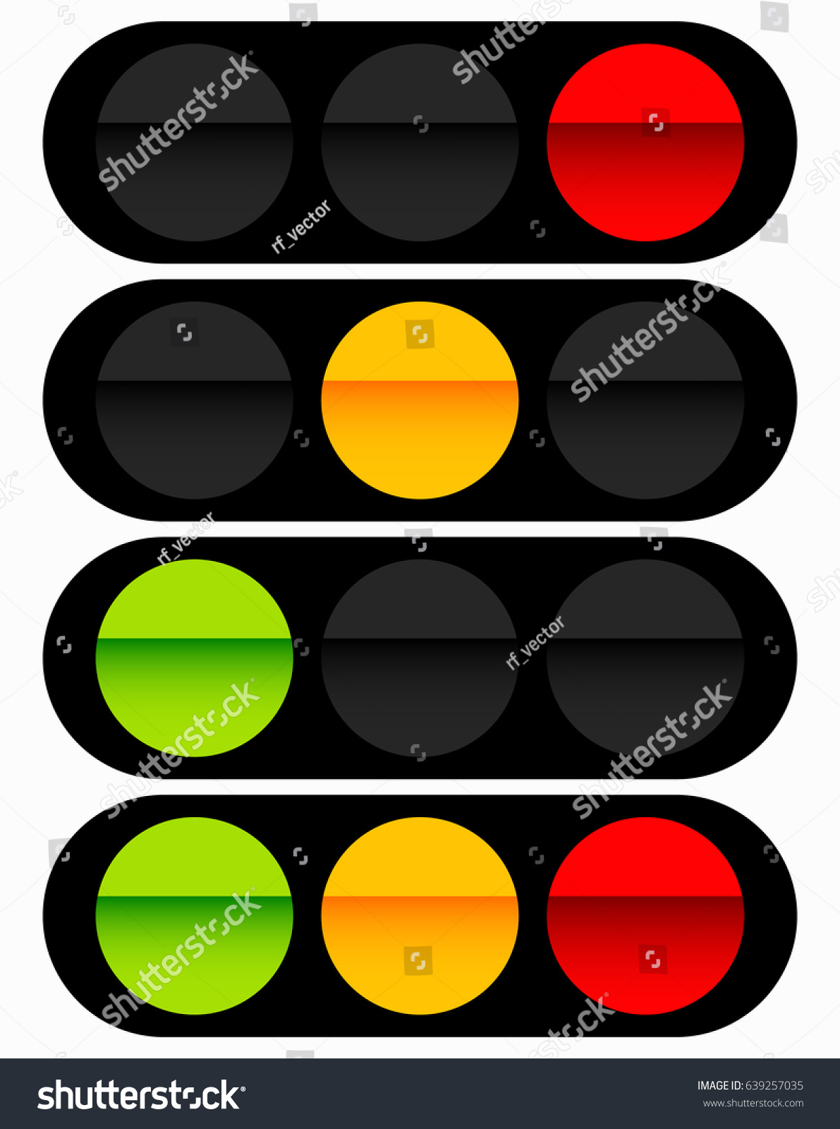 Traffic Light Traffic Lamp Icon Set Stock Vector 639257035 ... for Traffic Light Yellow Icon  588gtk