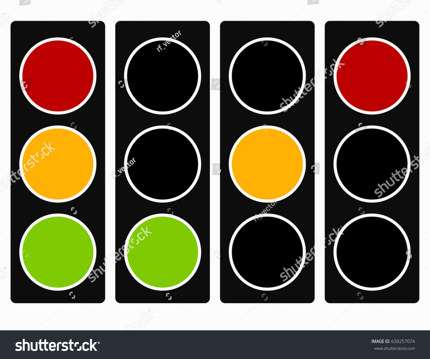 Traffic Light Traffic Lamp Icon Set Stock Vector 639257074 ... for Traffic Light Yellow Icon  173lyp